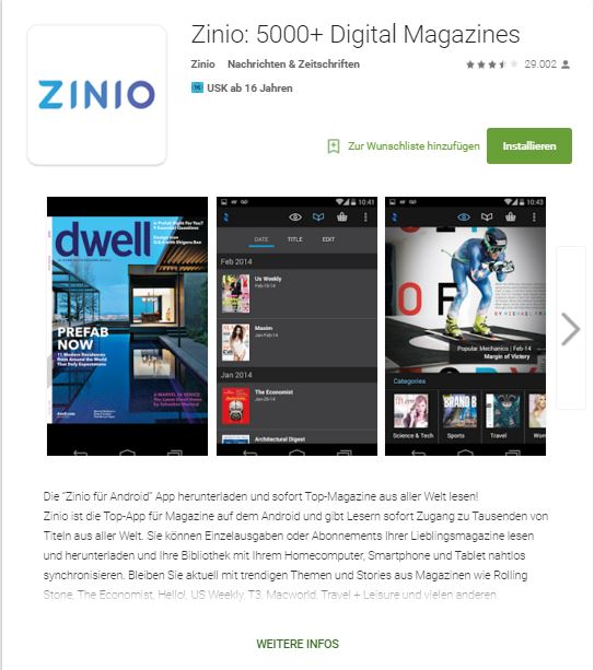 Screenshot Zinio App