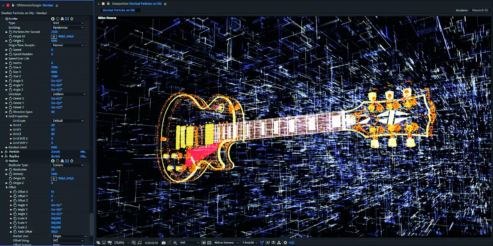 Das Gitarren-.obj als 3D-Objekt und als Partikelemitter. Im Hintergrund ein mit dem Corners Replicator erstelltes Gitter-Array.