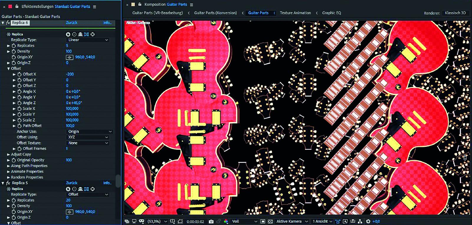 Die 4 Gitarrenparts mit Replikatoren
