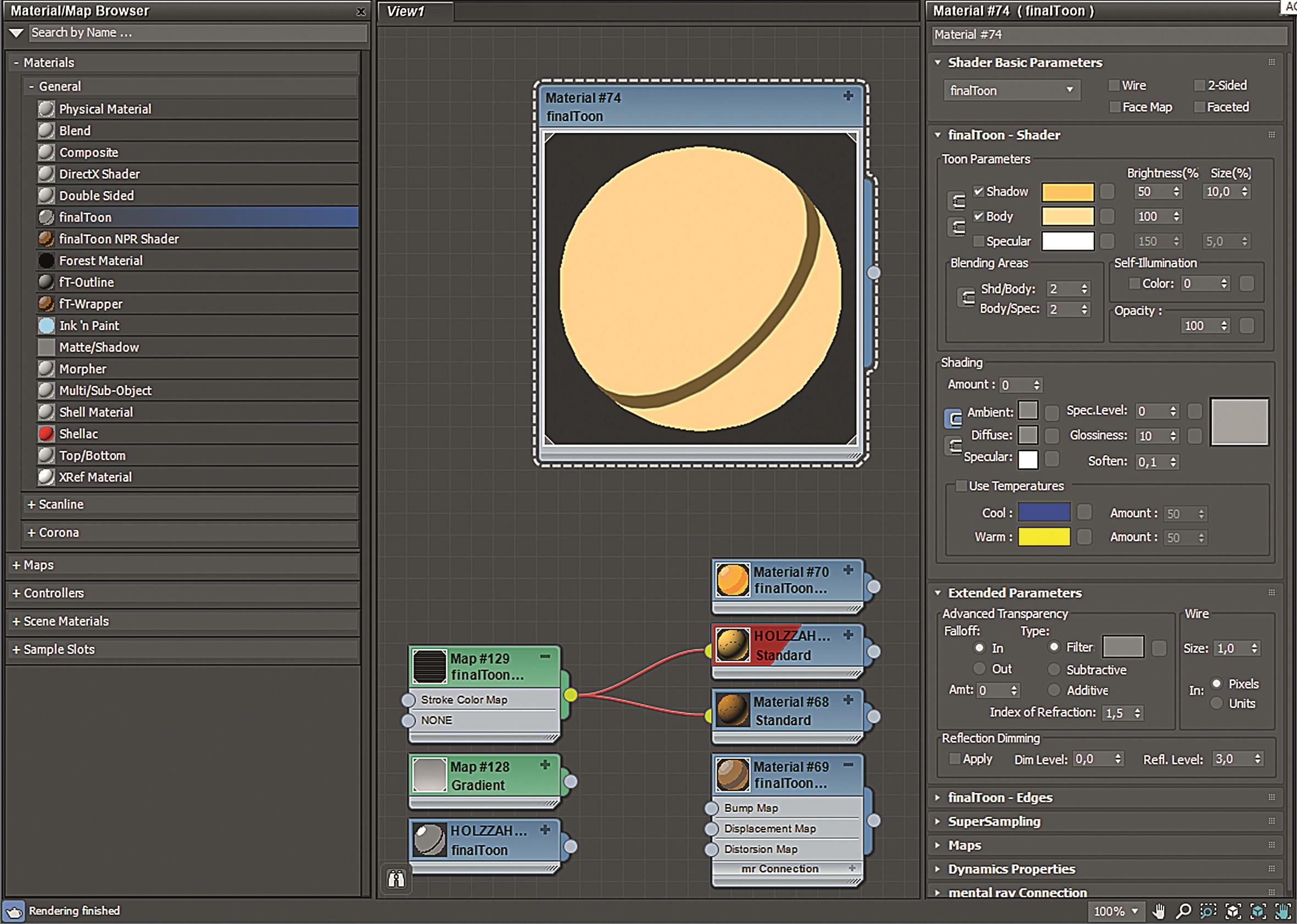Abbildung 3: Einstellungen und Definition der Linientypen via Finaltoon-Materialien