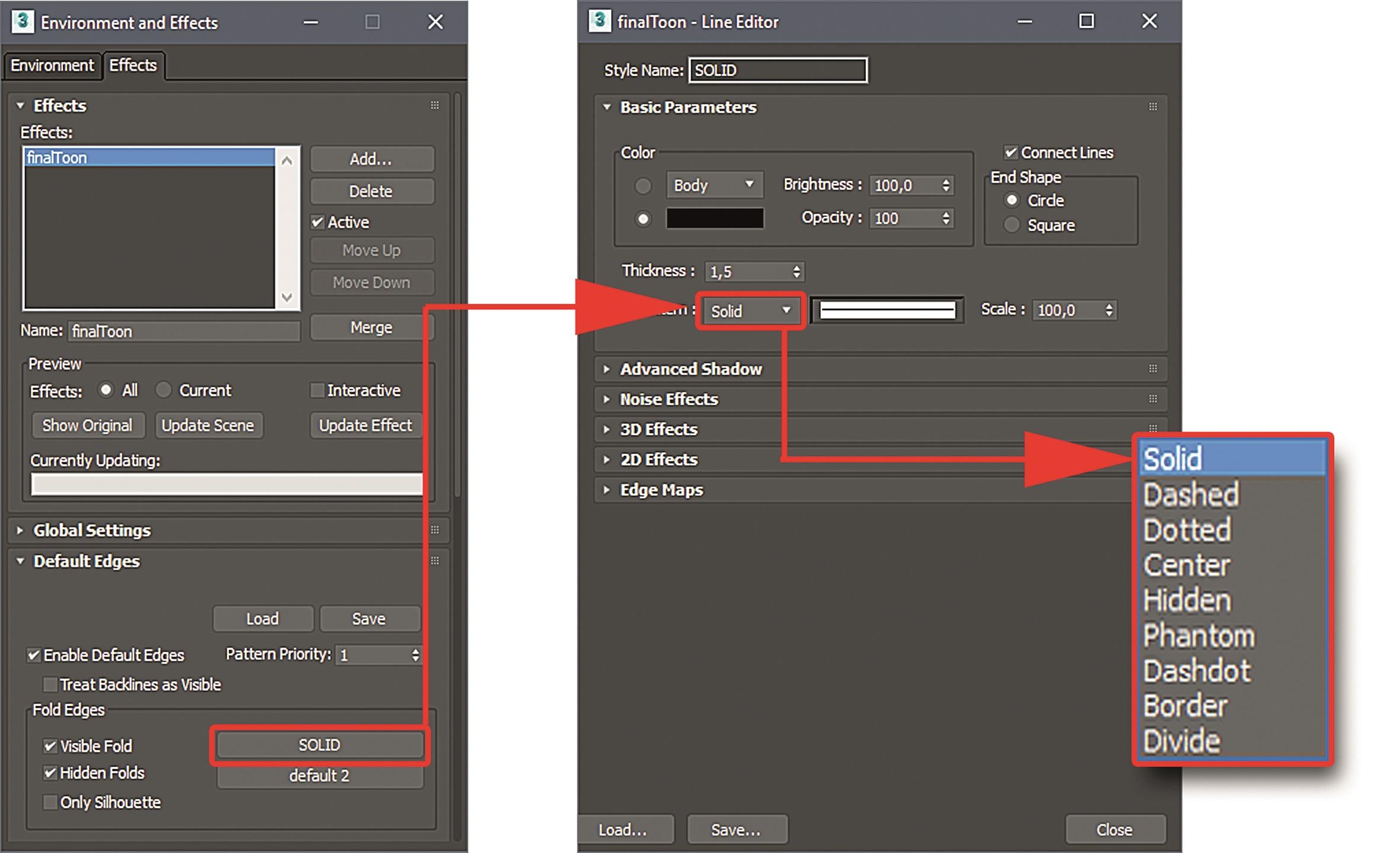 Abbildung 5: Linientypen und Line Editor