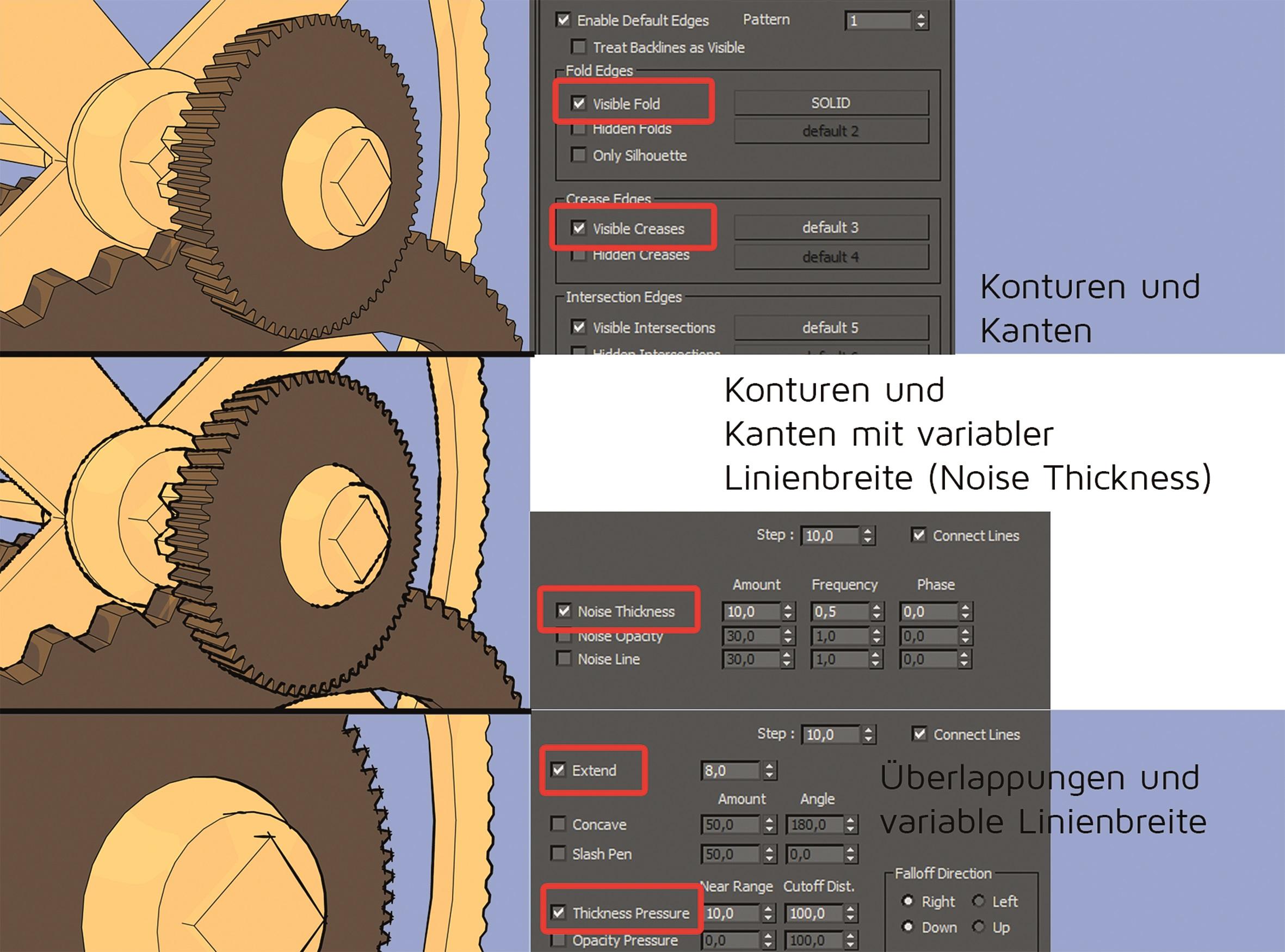 Abbildung 6: Linientypen und Einstellungen