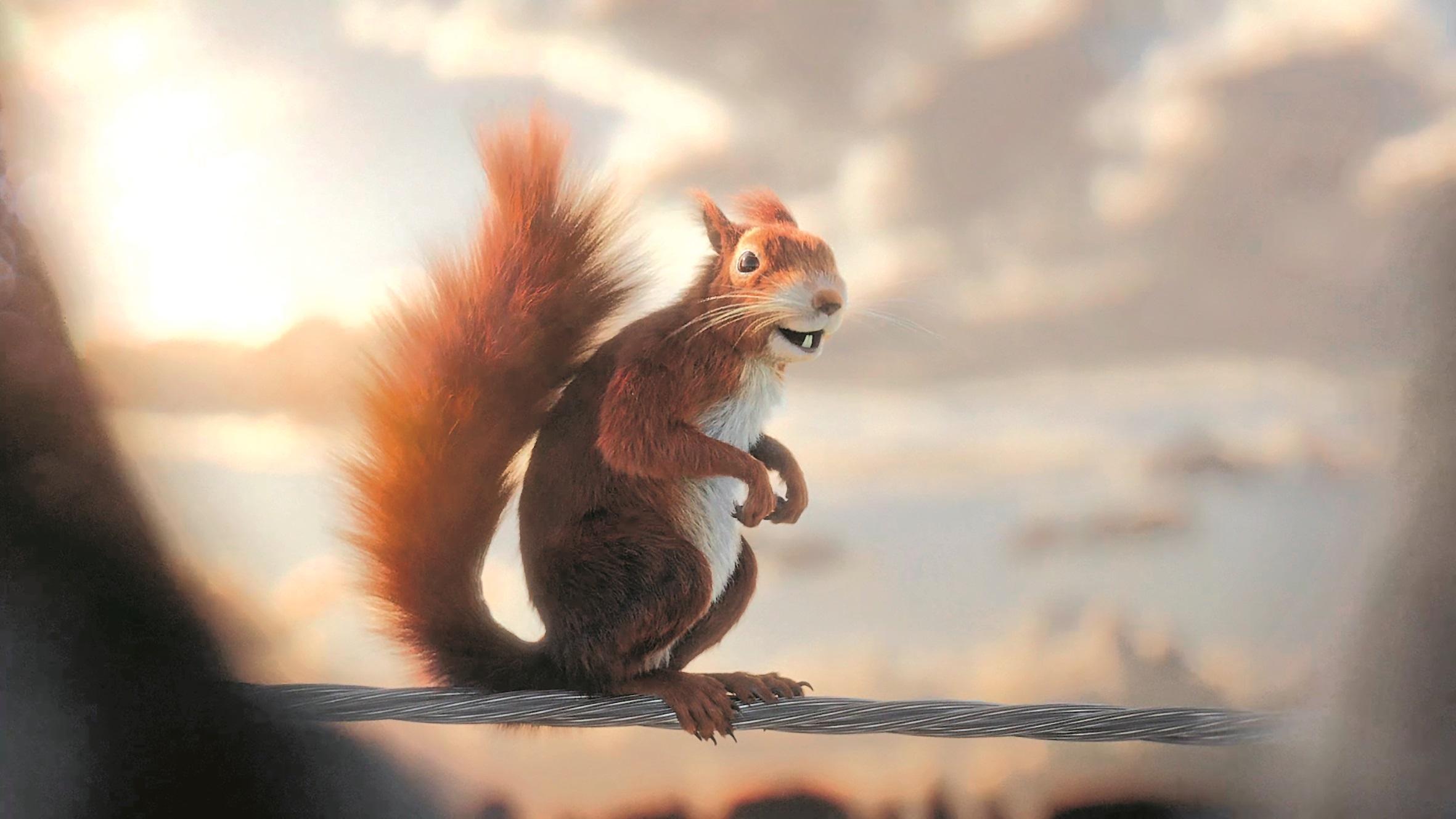Der einzige pelzige Geselle in der Clique ist das Eichhörnchen. Sein Fell entstand mit dem Maya-Plug-in Yeti, simuliert wurde es mit einem Maya-nHair-Setup.