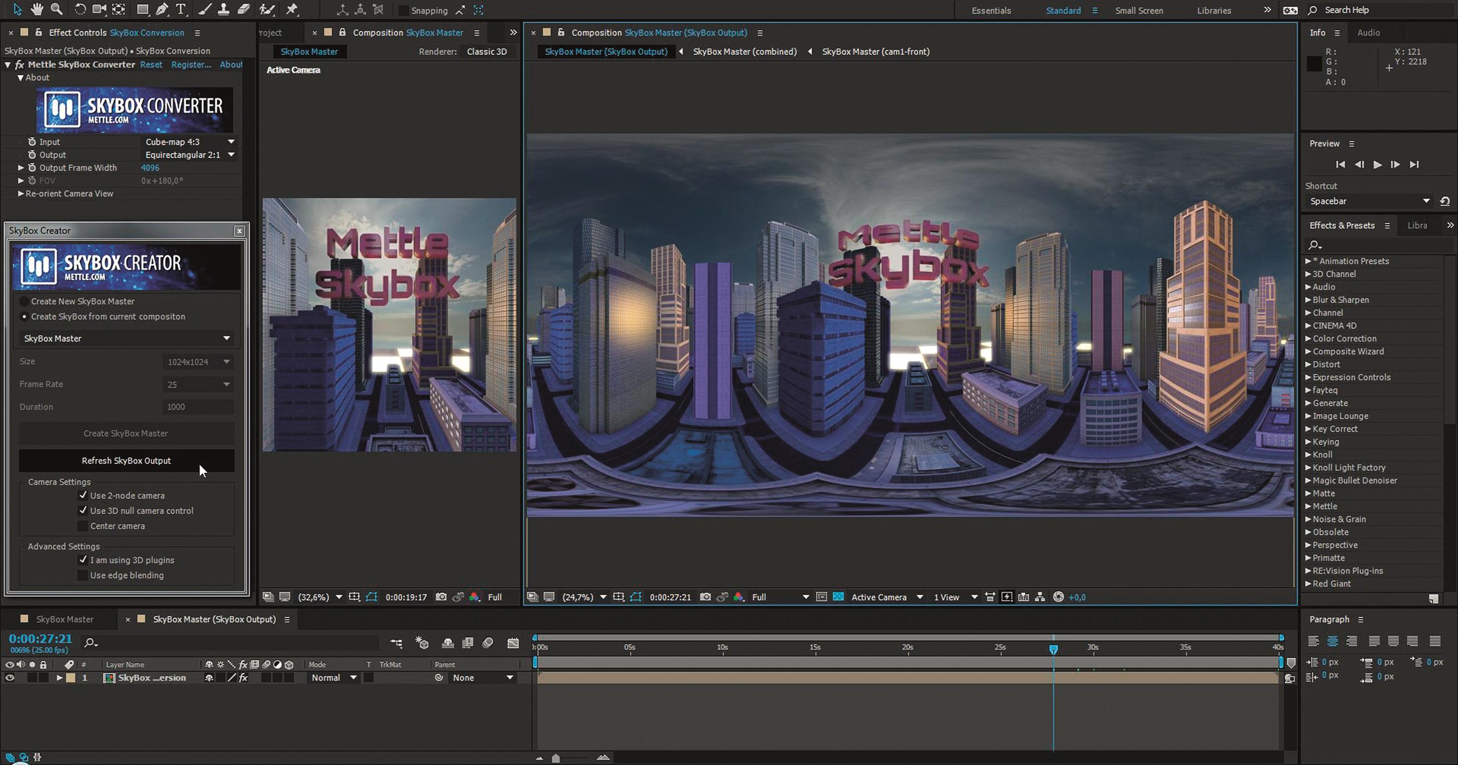 Equrectangular Ausgabe einer Element-3D-Animation
