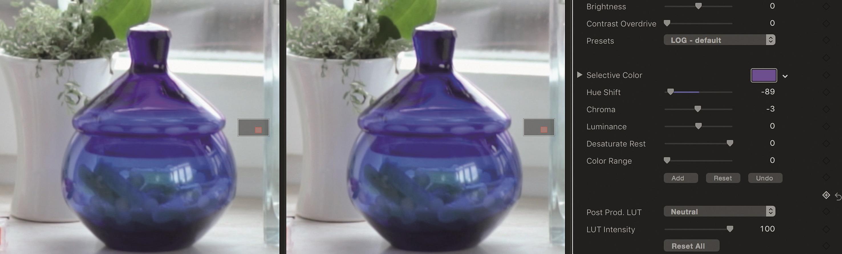 """Das Magenta auf dem eigentlich blauen Glas lässt sich mit """"Selective Color"""" beseitigen."""