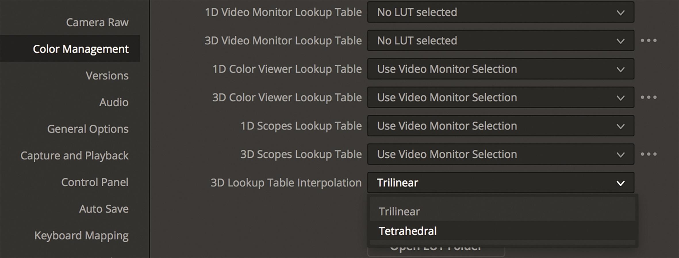 In Resolve wird die tetrahedrale Interpolation nur optional angeboten.