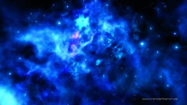 """Stellarer Nebel aus ZDF """"Terra X"""", Episode """"Eine Frage der Zeit"""" (https://vimeo.com/renderbaron/txeinefragederzeit, Min OO:3O): Ein einziges sichtbares volumetrisches Licht dient hier als Aquarium für 3D-Noises und weitere volumetrische Shader, die als Textur auf der Lichtquelle liegen – Komplexität leicht gemacht."""