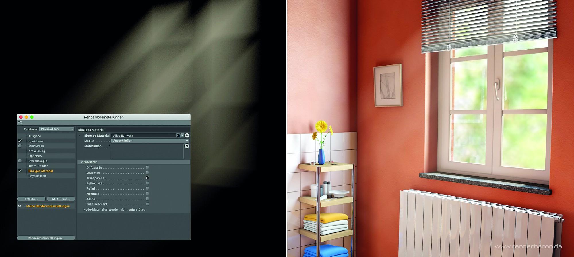 """Bild O4: Sichtbare volumetrische Lichter sollten in kompletten Szenen immer als separates Take """"auf Schwarz"""" gerendert werden. Die Funktion """"Einziges Material"""" ist hier maßgeblich. Das Ergebnis wird dann in der Postproduktion auf das separat erstellte """"vollständige"""" Rendering mit einem Modus wie z.B. """"Negativ Multiplizieren"""" aufgetragen."""