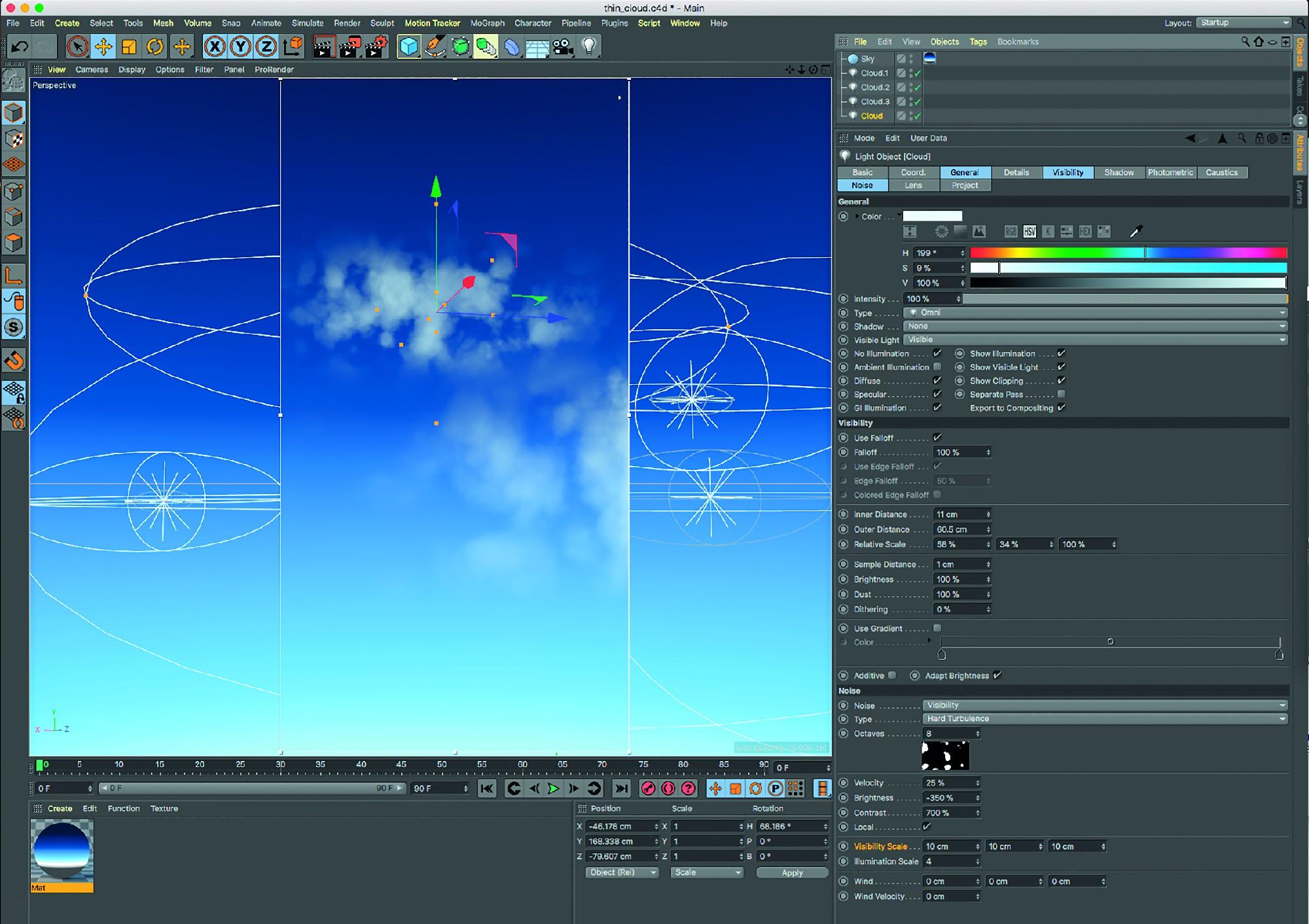 Bild O7: Definierte Wolkenstrukturen lassen sich im Tab Noise mittels starker negativer Helligkeit (-35O %) und starkem positiven Kontrast (7OO%) herausarbeiten.