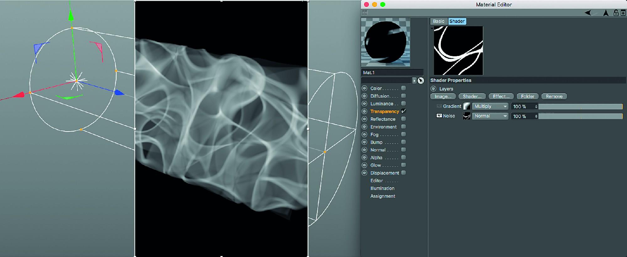 Bild 15: Ein 3D-Noise (Sema) in einem scharfkantigen parallelen Spot mit sichtbarem volumetrischem Licht. Die Kanten wirken unorganisch scharf.