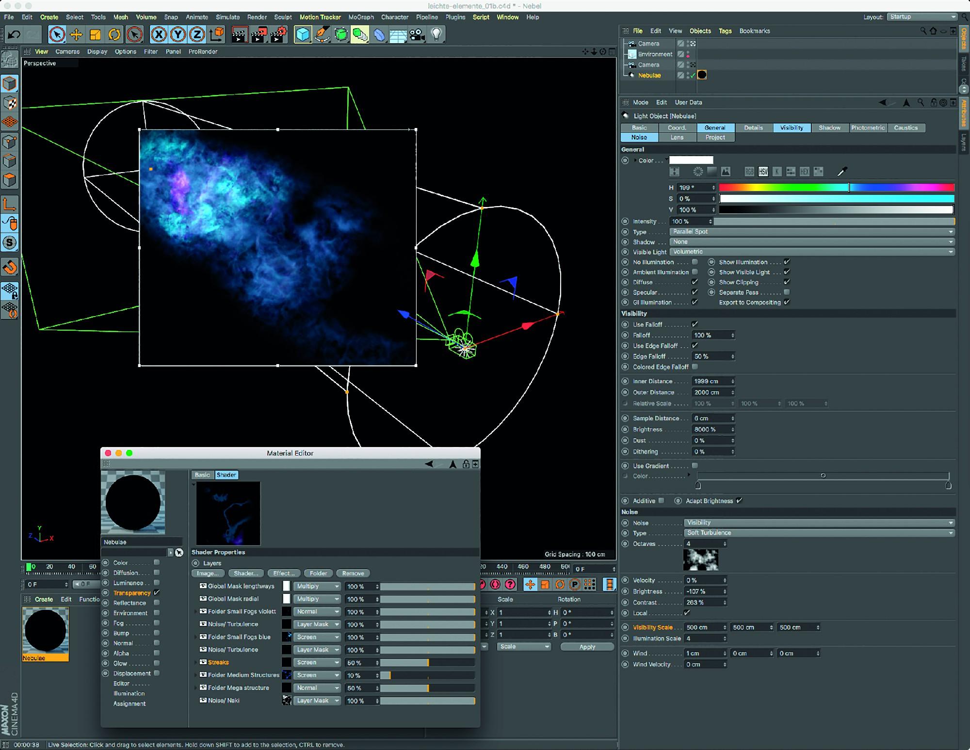 Bild 17: Stellarer Nebel aus dem Titelbild dieses Artikels: Ein Material mit aktivem Transparenzkanal und einem Ebene-Shader sorgt für komplexe volumetrische Strukturen.