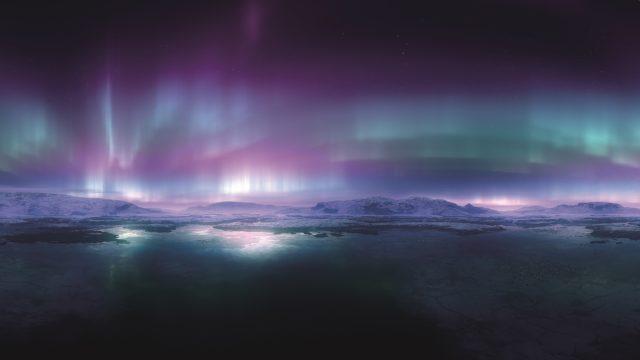 Die Polarlichter wurden mithilfe von volumetrischen Lichtern in Kombination mit Turbulenzen im Alpha-Kanal erstellt.