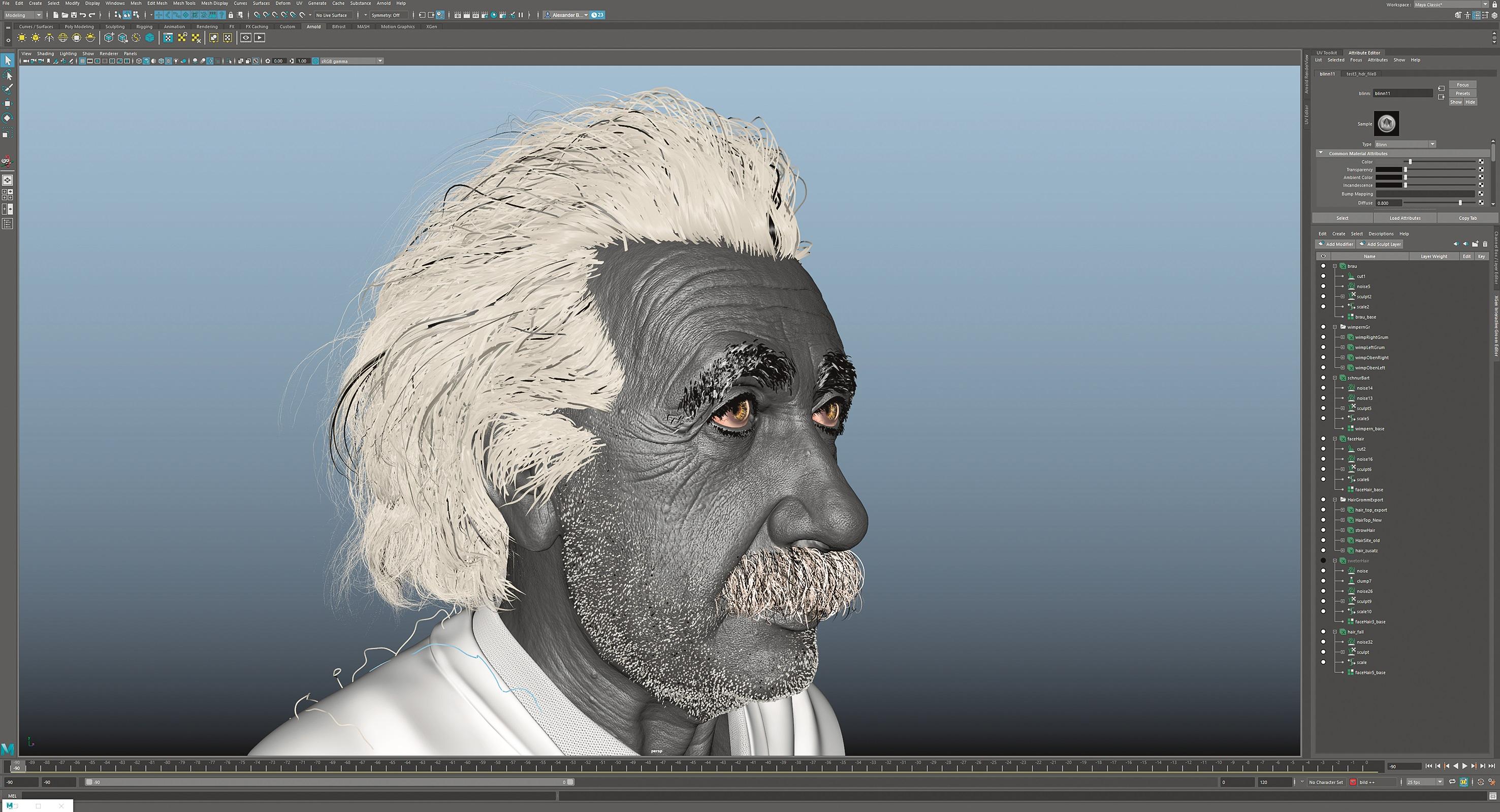 Einsteins charakteristische Kopfbehaarung entstand mit Maya Interactive Grooming.