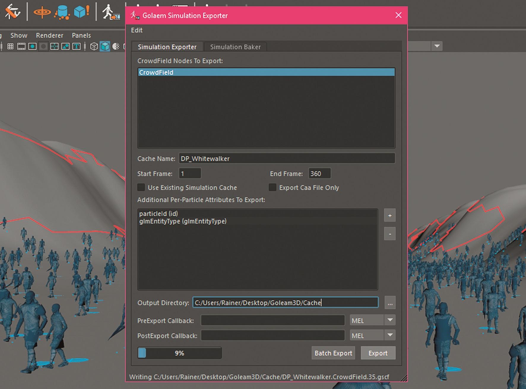 Bevor es ans Rendering geht, muss erstmal ein Simulation Cache erstellt werden. Das macht zudem die Betrachtung der Bewegungen im Viewport angenehmer.