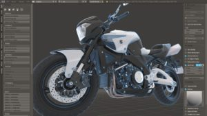 Blender 2.8 Viewport design mockup by Paweł Łyczkowski, suggesting fresnel wires over a Cycles preview