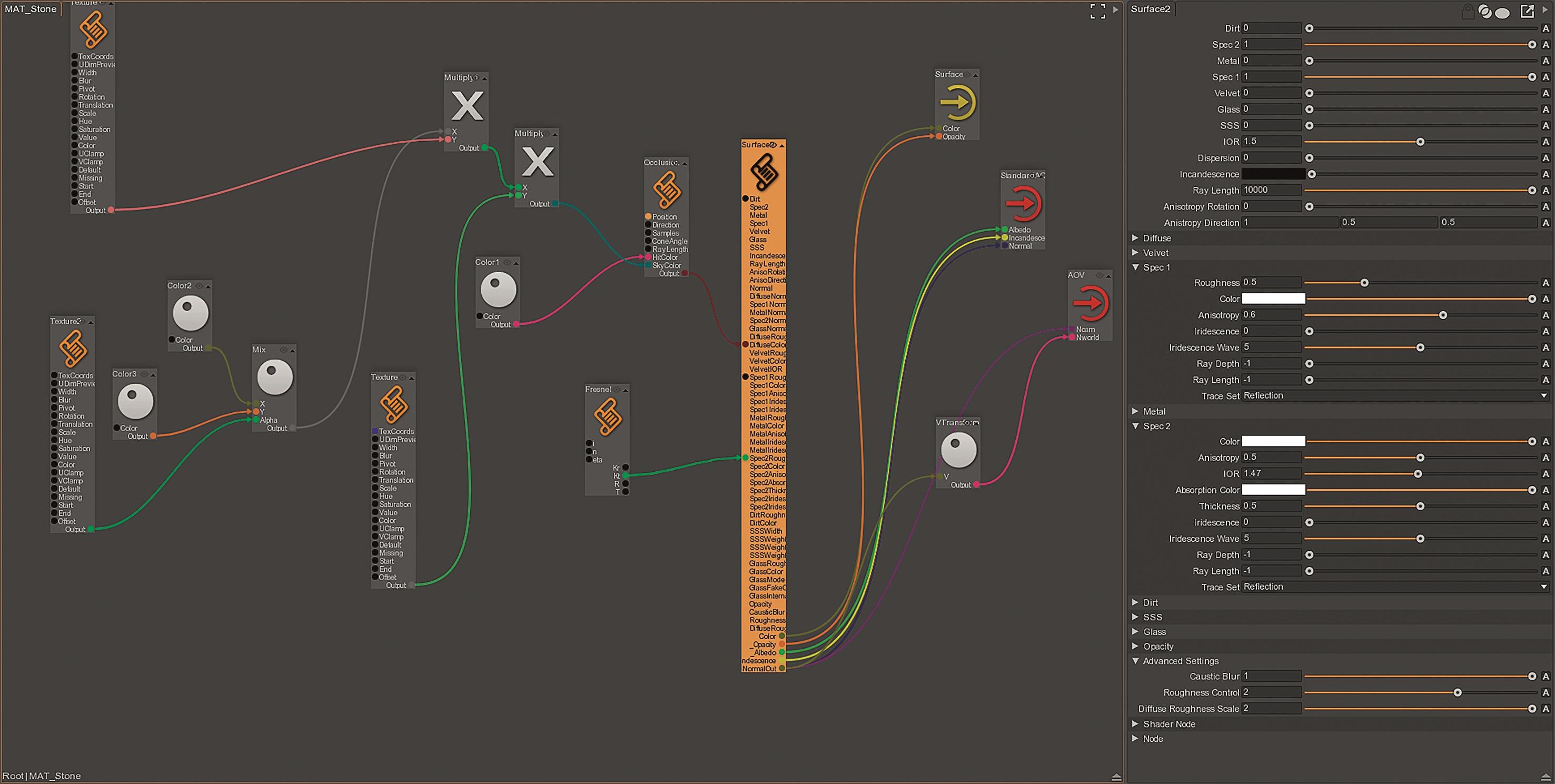 Materialien können als eigenständige Graphen aufgebaut und zwischen Projekten ausgetauscht werden.