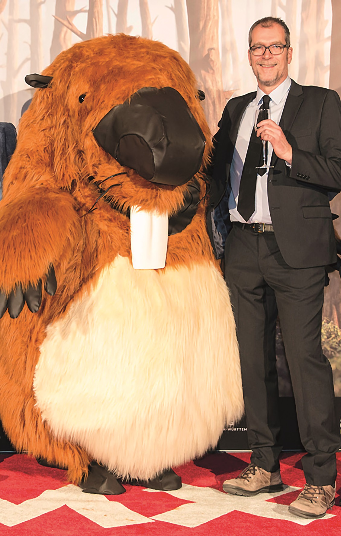 Ton Roosendaal and this year's FMX mascot (left)