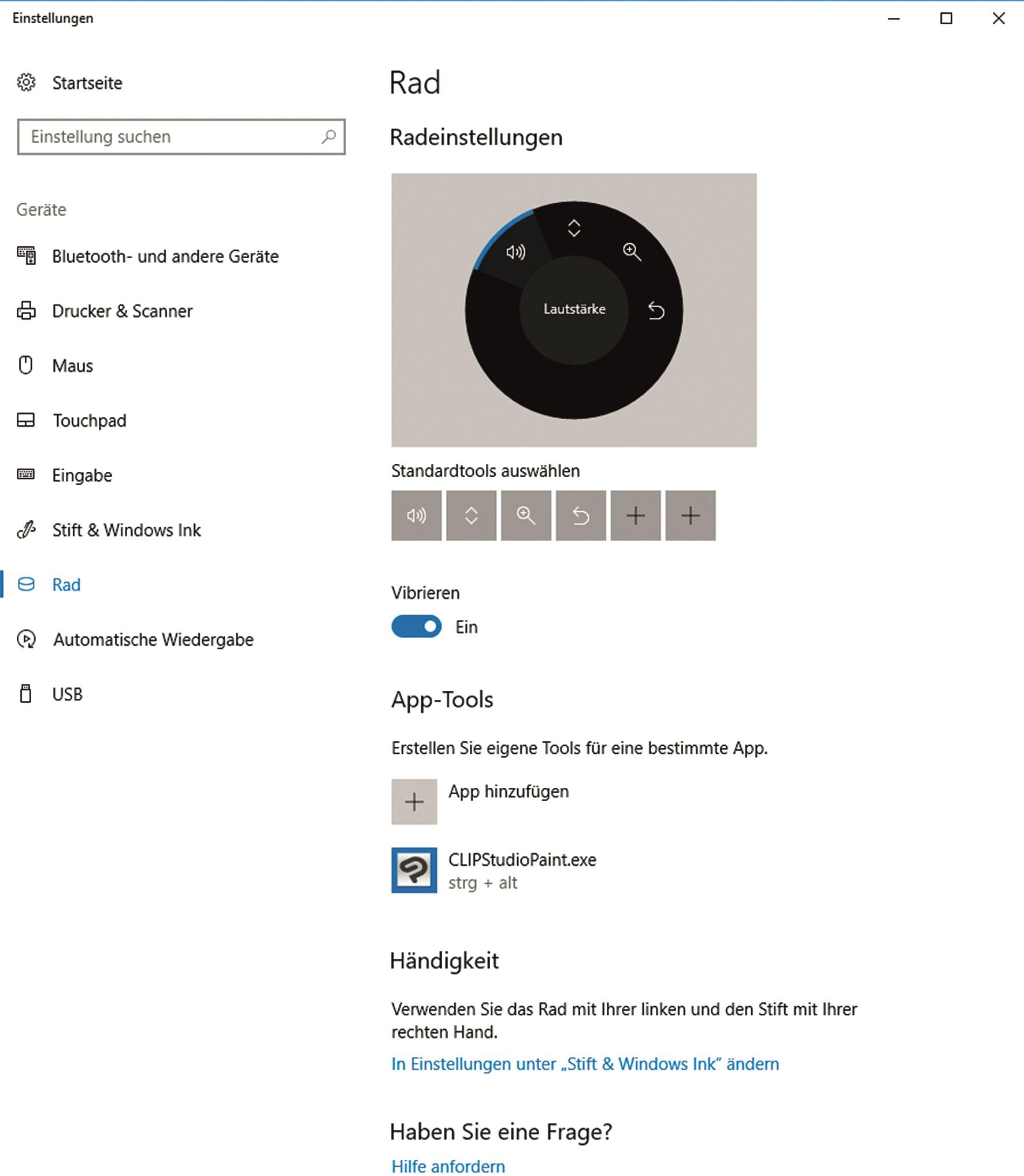 Windows 1O-Radeinstellungen – es gibt Standard-Paletten – für einzelne Anwendungen lassen sich spezielle Einstellungen speichern.