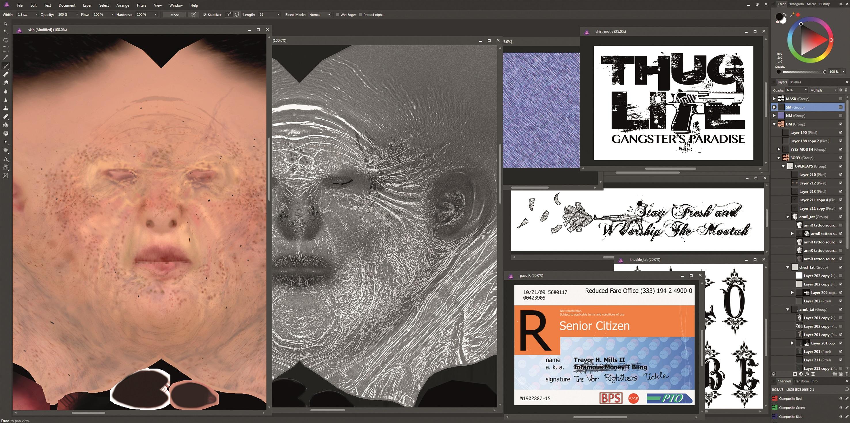 In Affinity Photo führte Thomas Pecht alle Texturelemente aus Mudbox und Affinity Designer zusammen.