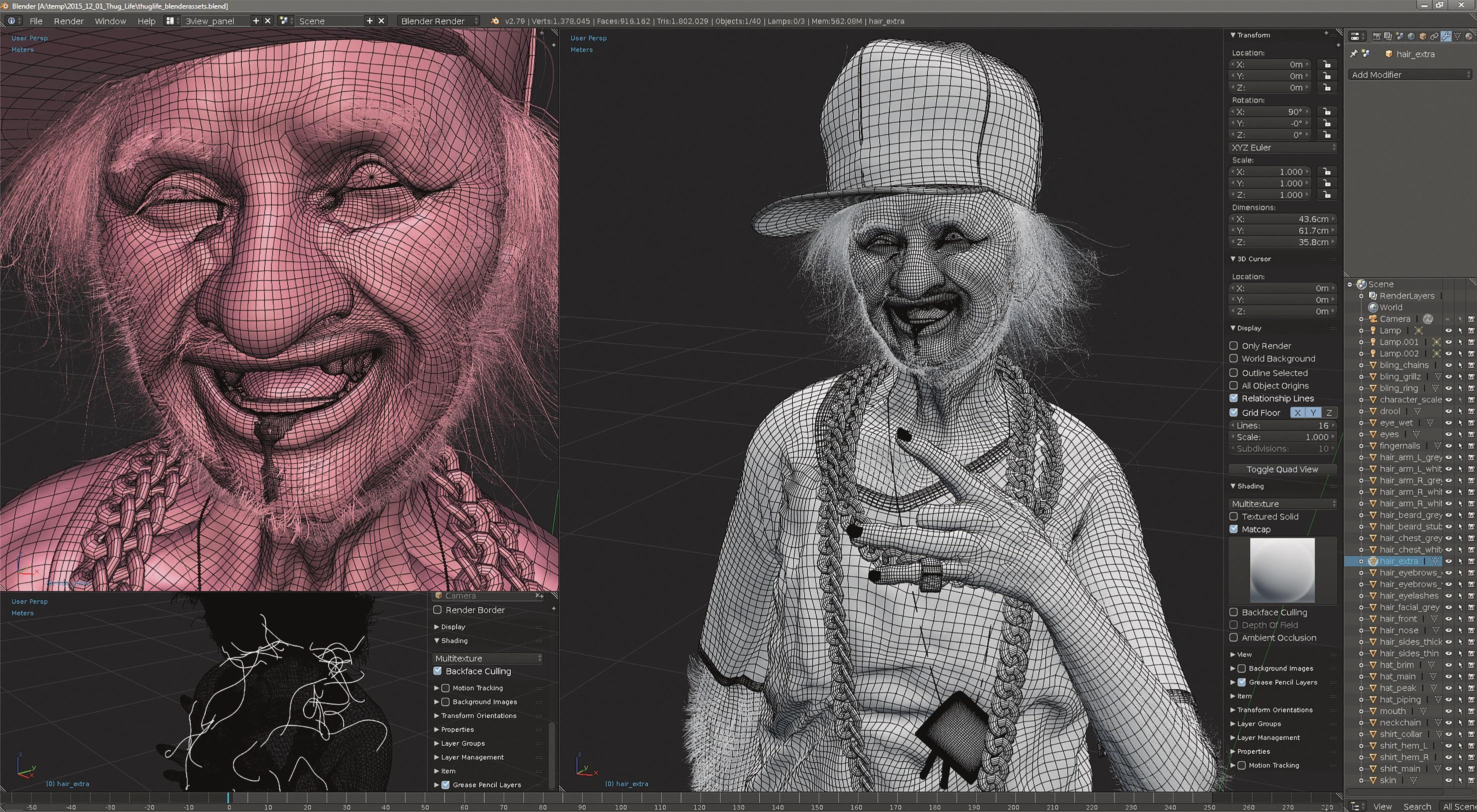 Das Subdivision Surface Modeling der Accessoires, das UV-Mapping und das Figur-Posing entstanden in Blender.