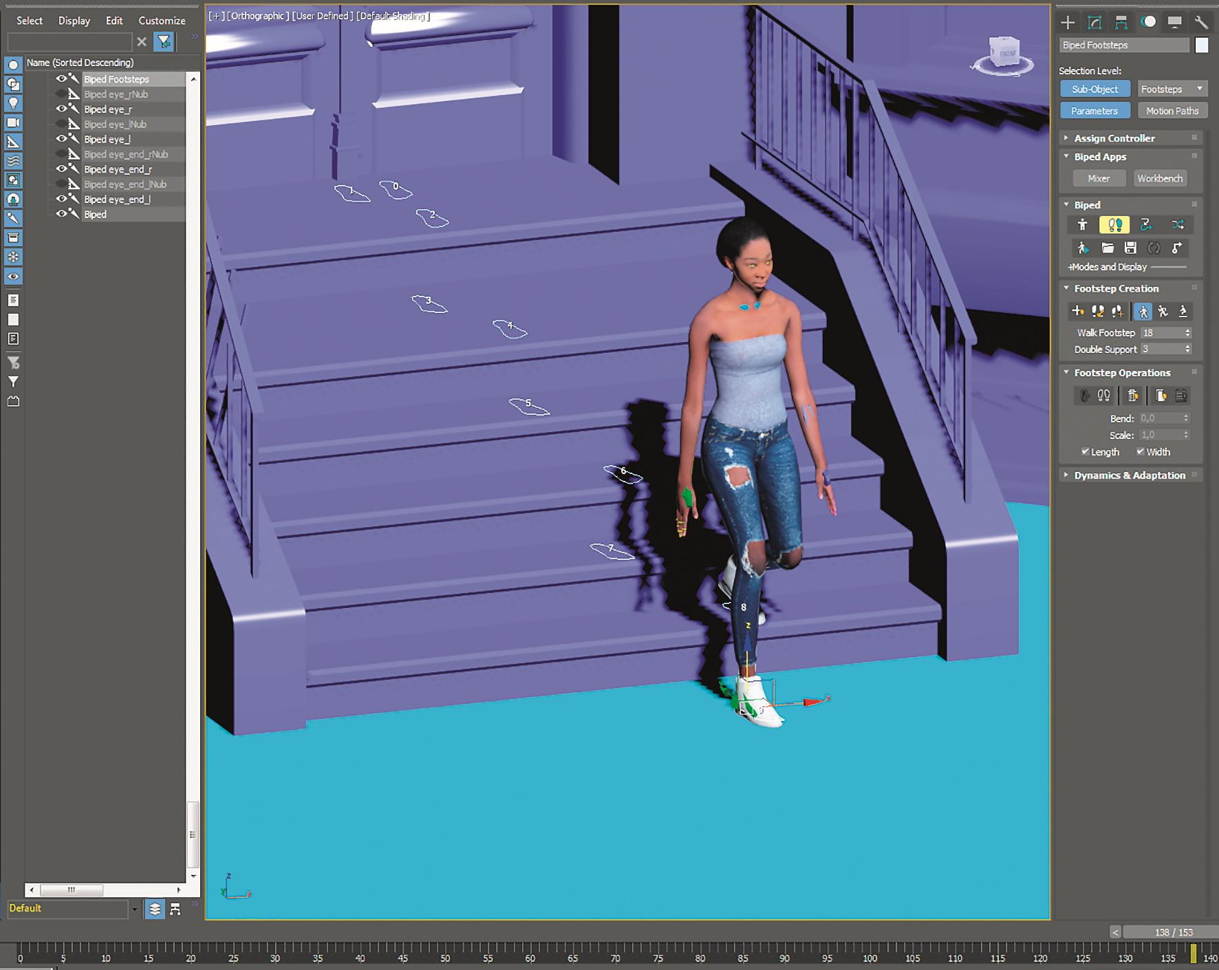 Bei den Modellen mit dem Biped-Skelett ist es ein Leichtes, mit Footsteps jedes Hindernis zu bewältigen.