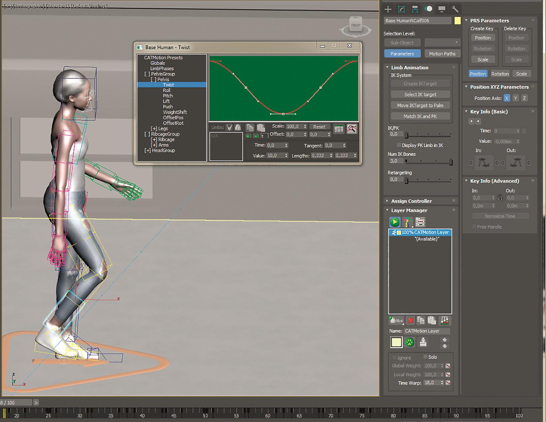 Das CAT-Format bietet einen Walk-Generator, um eine prozedurale Laufbewegung zu erstellen.