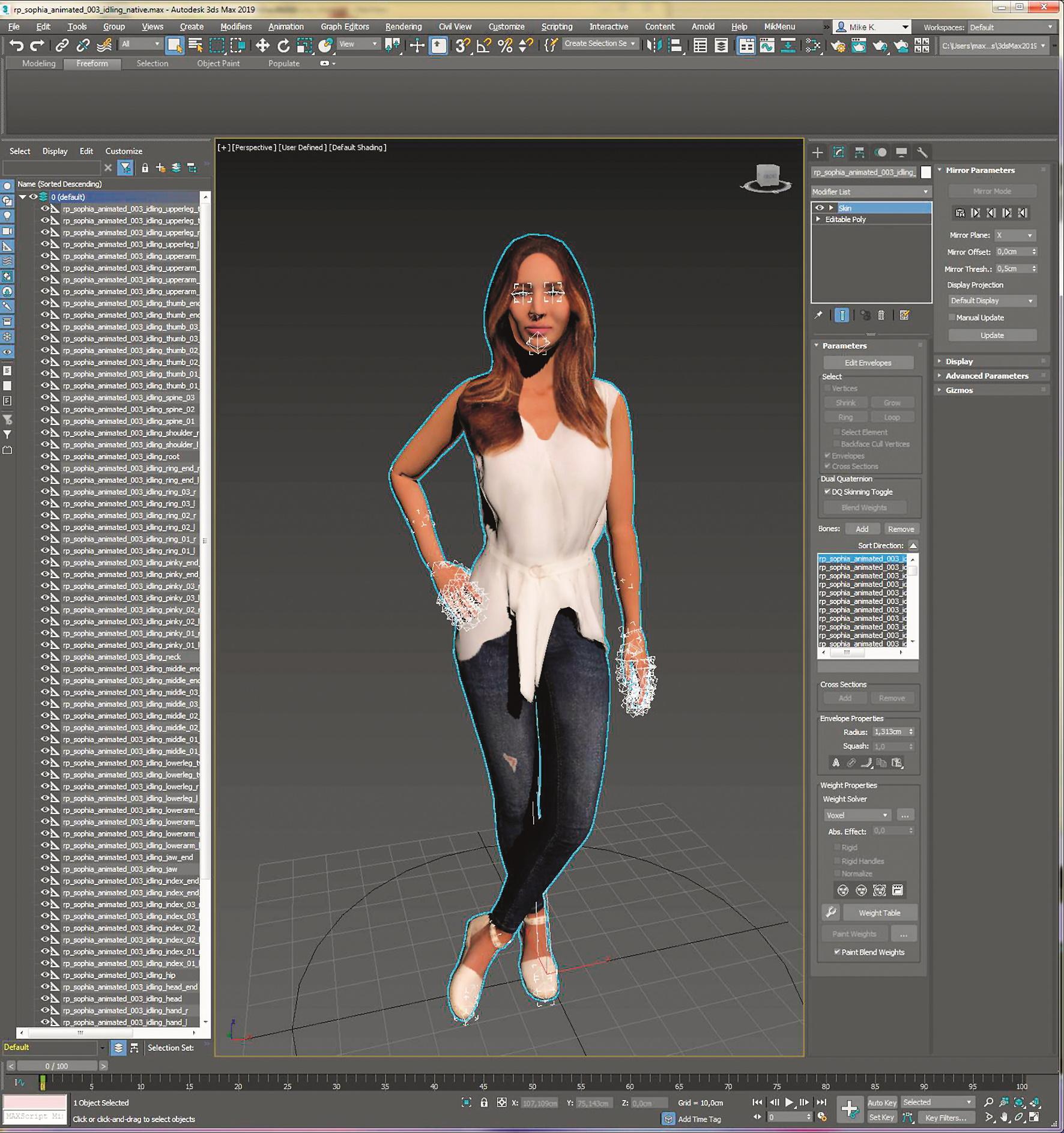 Die Modelle mit einem vorgefertigten Rig oder auch einer Animation sind bis in die einzelnen Fingerspitzen, Augen und Kiefer mit Bones versehen.