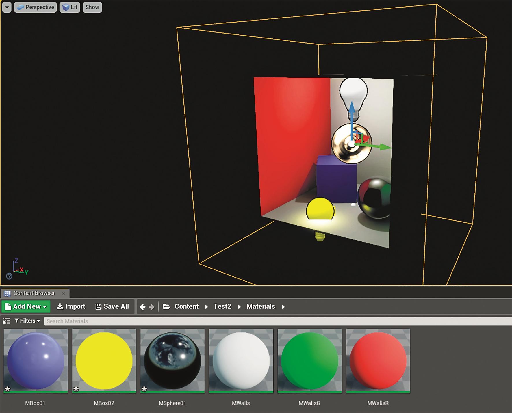 Während die Materialien nachgebaut werden, brauchen Reflexionen einen Cube Reflection Capture Actor.