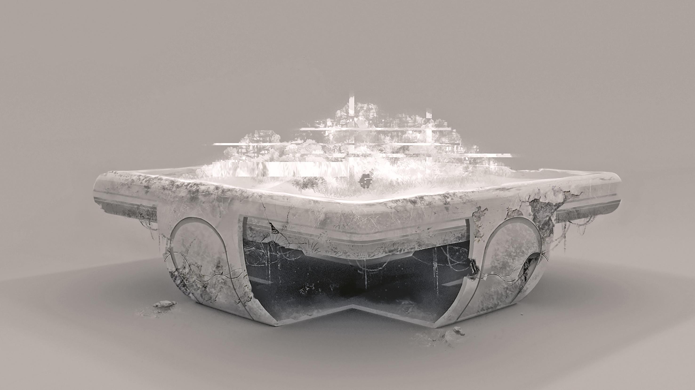 Design des Hologrammtisches, welches auch auf die AR-Sandbox übertragen wurde.
