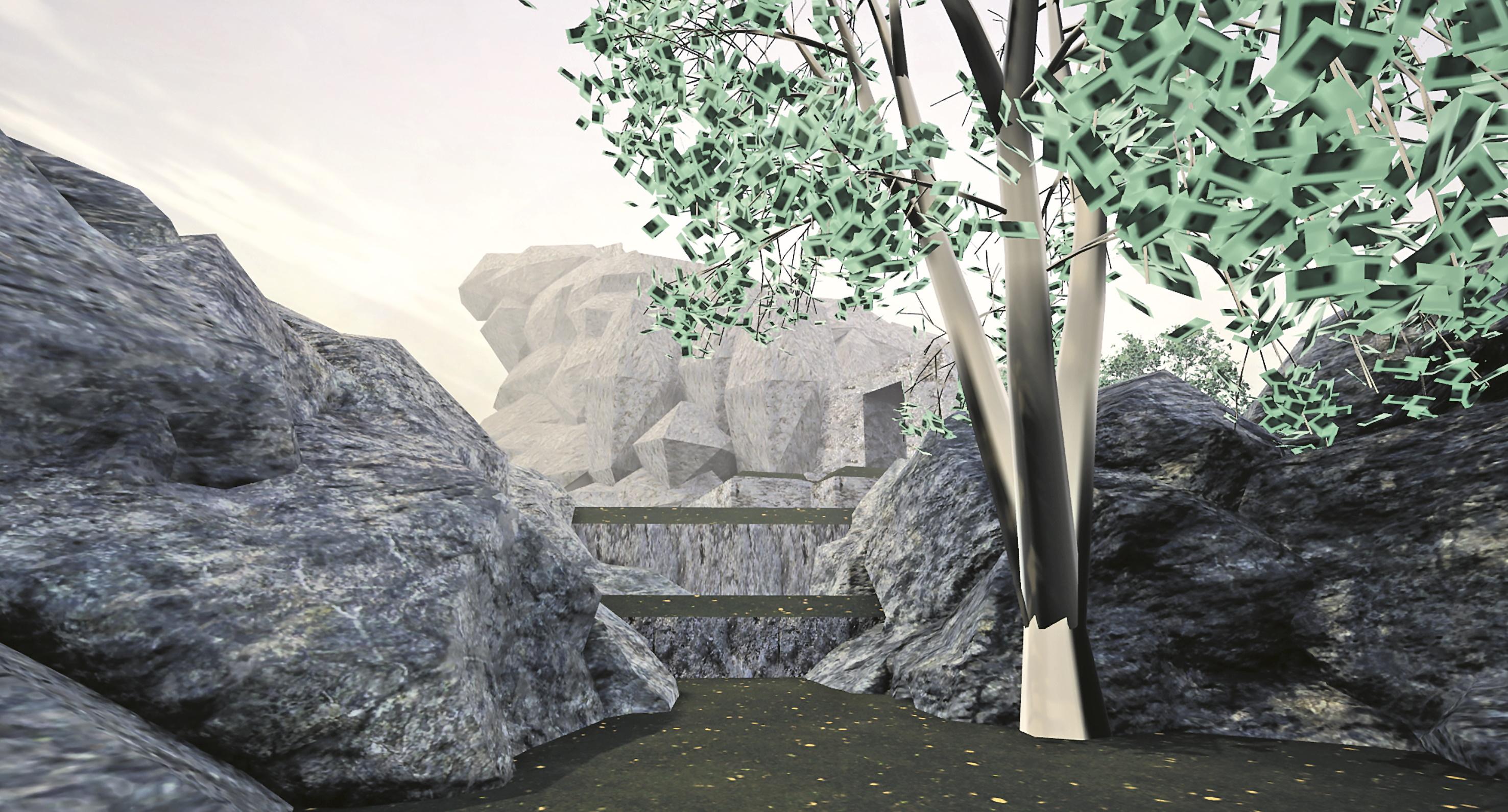 Abb. 3: 3D-Prototyp mit Ausnahme des Baums ausschließlich bestehend aus Unreals Geometry Brushes