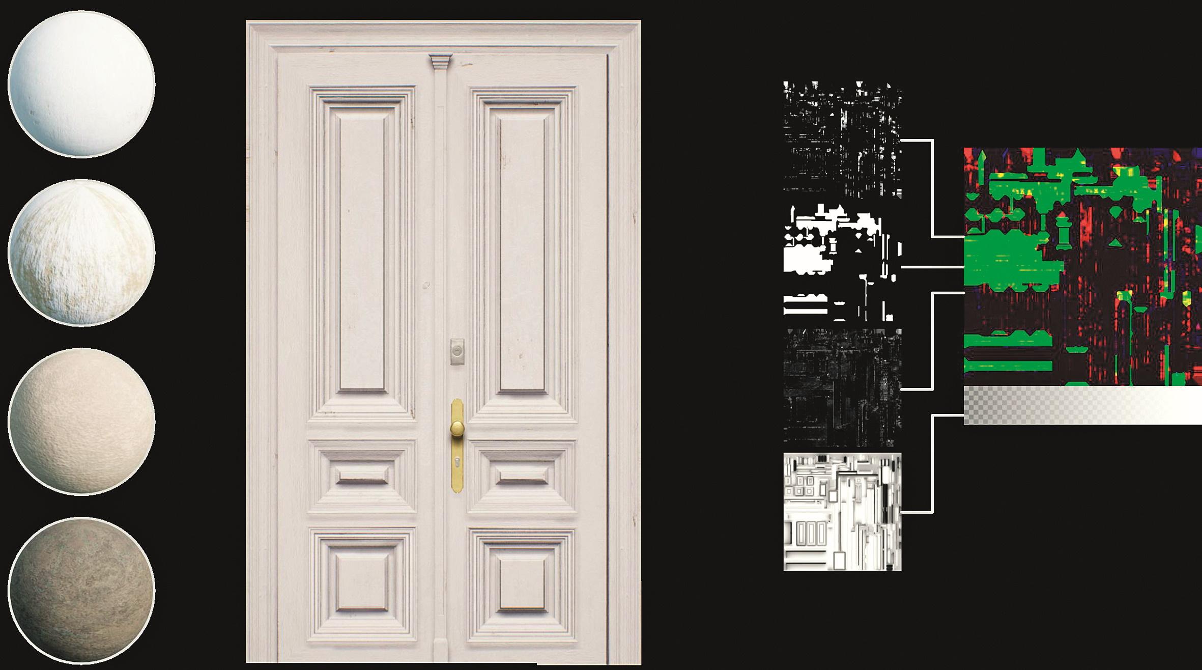 Abb. 8: Komponenten des Material Layerings: links die Basismaterialien, rechts die Blendingmasken und Ambient Occlusion Map sowie das Resultat in der Mitte