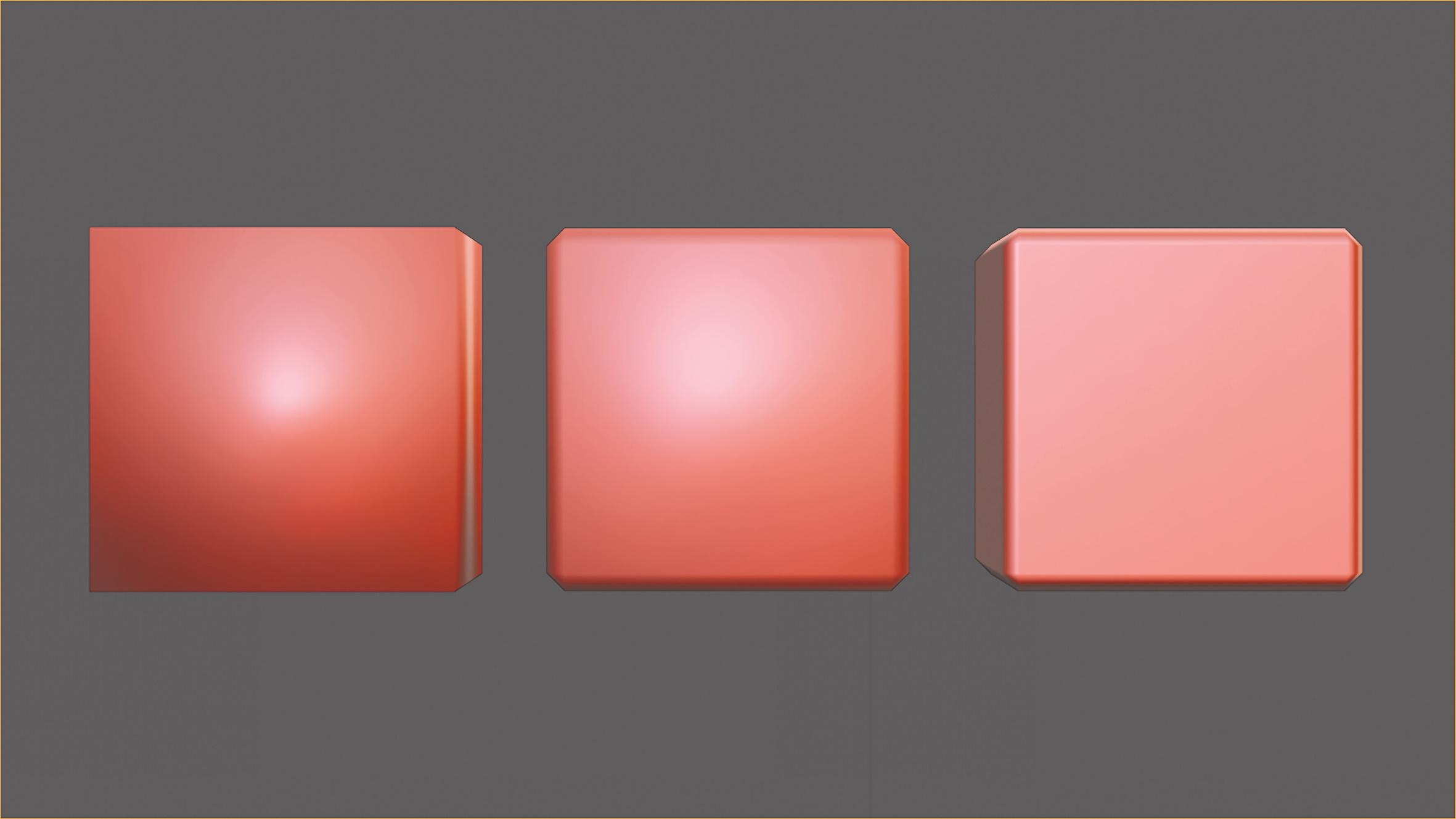Abb. 9: Vergleich aus Smooth Shading, Bevel mit Smooth Shading und Bevel mit Face-Weighted Normals