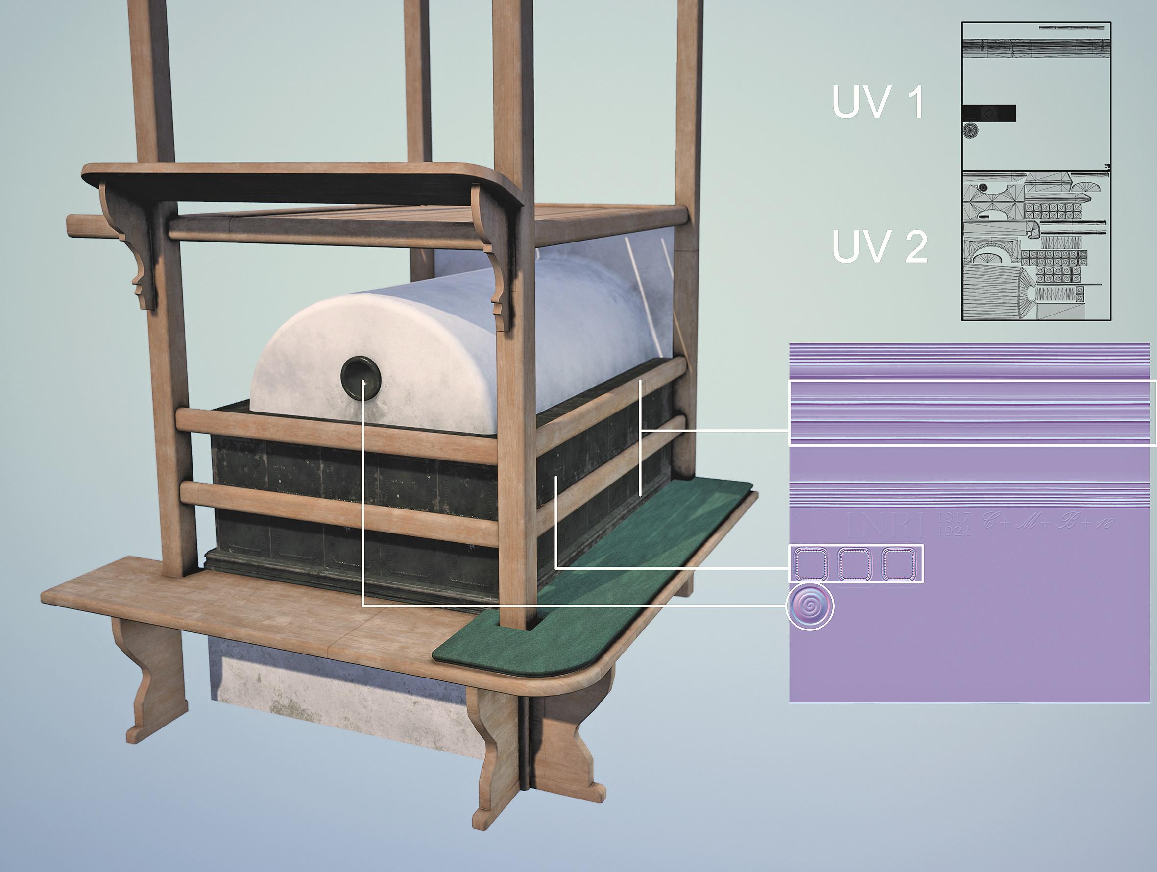 Abb. 12: Wiederverwendbare Trim Sheets auf einem eigenen UV-Set ersetzen objektspezifische Normal Maps.