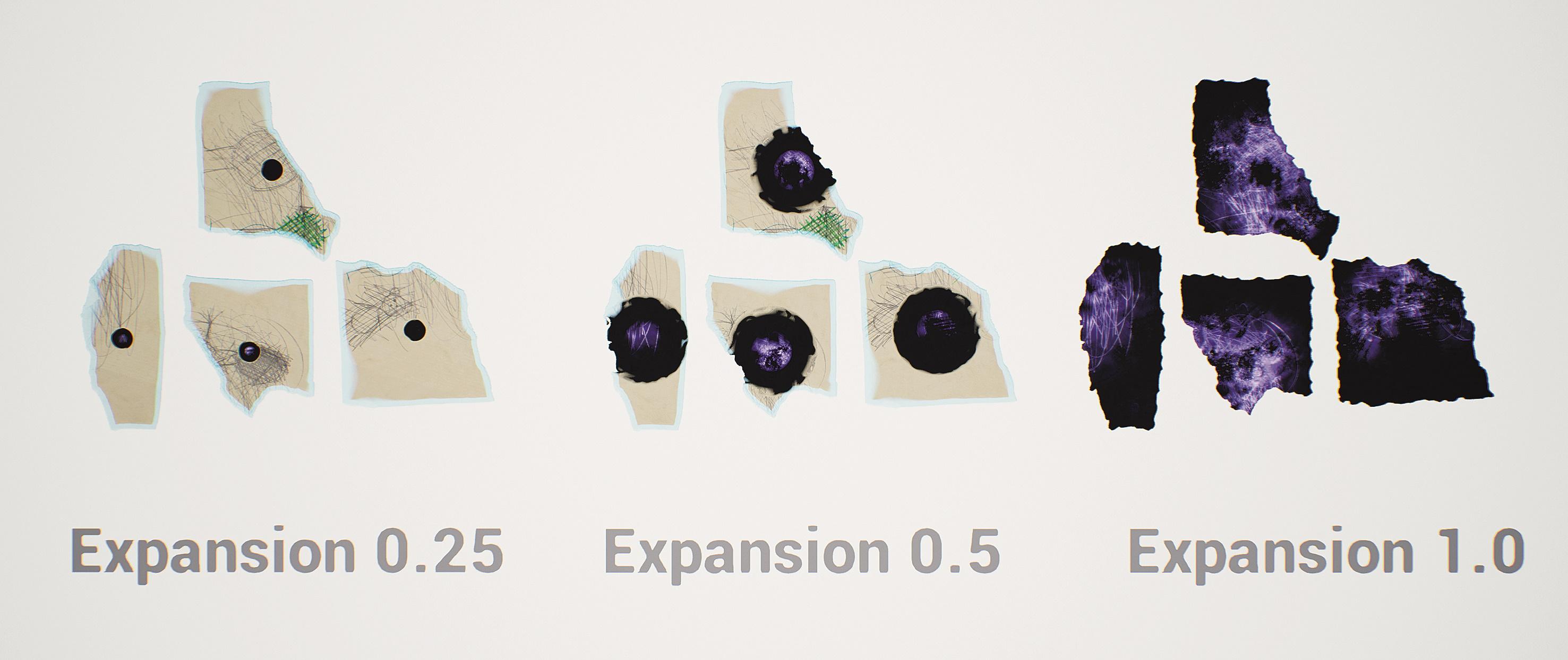 Abb. 15: Darkness Expansion – Neben Objekt-Materialien kann der Material Editor auch dazu verwendet werden, Lichtfunktionen, Post-Processing-Effekte und Decals zu erstellen. All diese Materialtypen nutzen denselben Editor und identische Nodes.