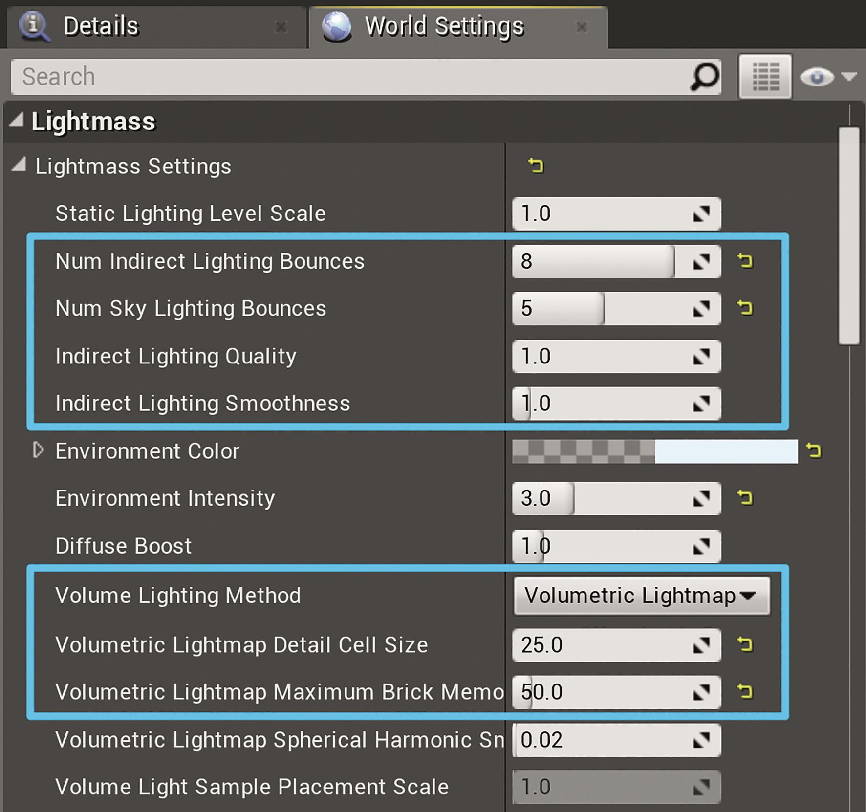 Abb. 20: Light-Mass-Einstellungen für Lisas Zimmer (UE4 4.19)