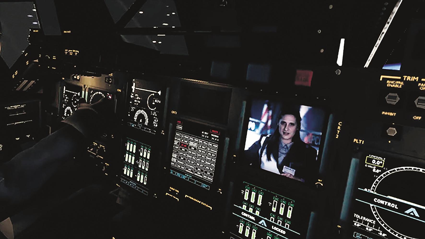 Ausschnitt der Bedienelemente des Cockpits als Screenshot der Unity Engine