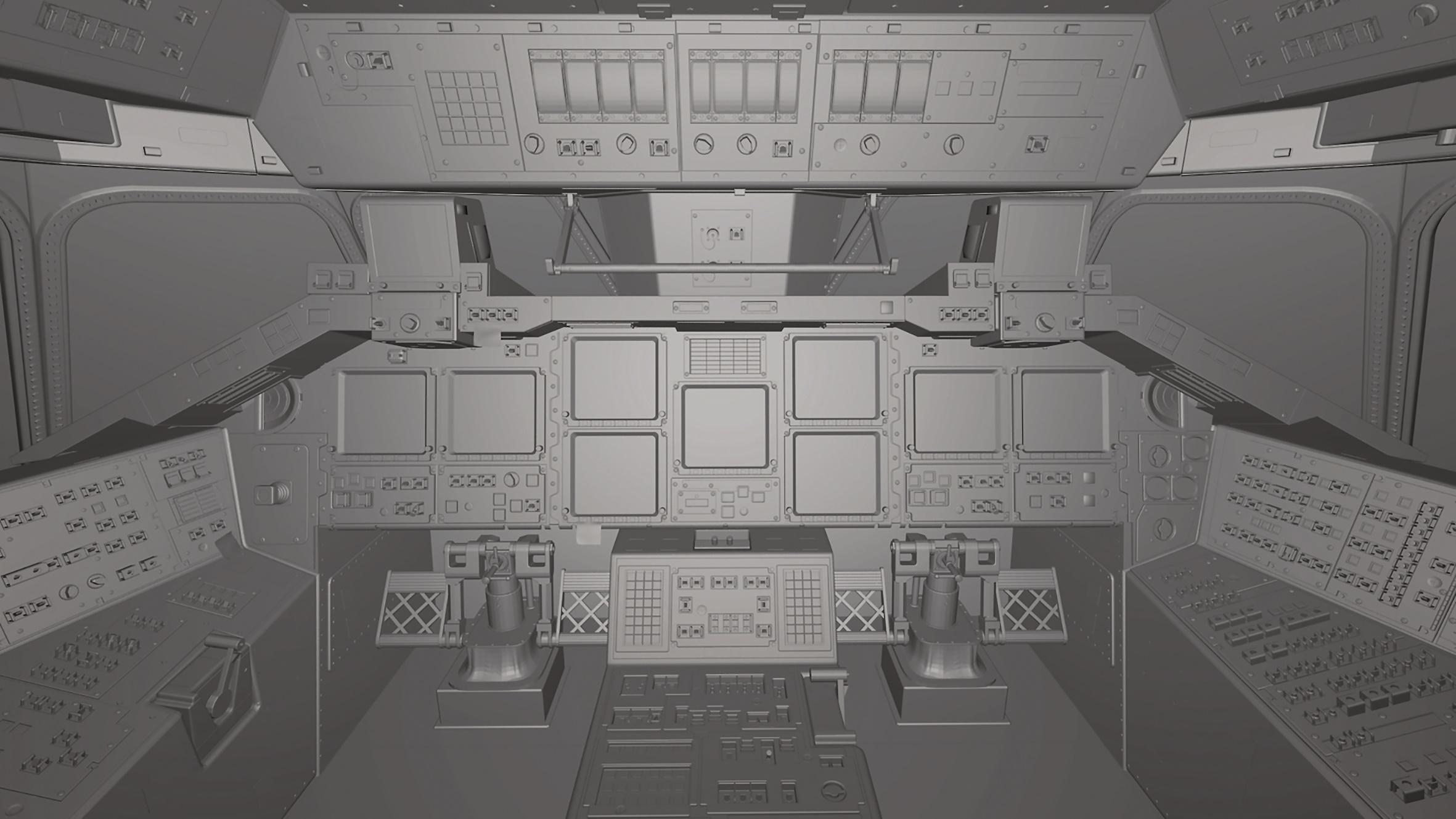 Das rohe Modell des Cockpits mit Grey Shading