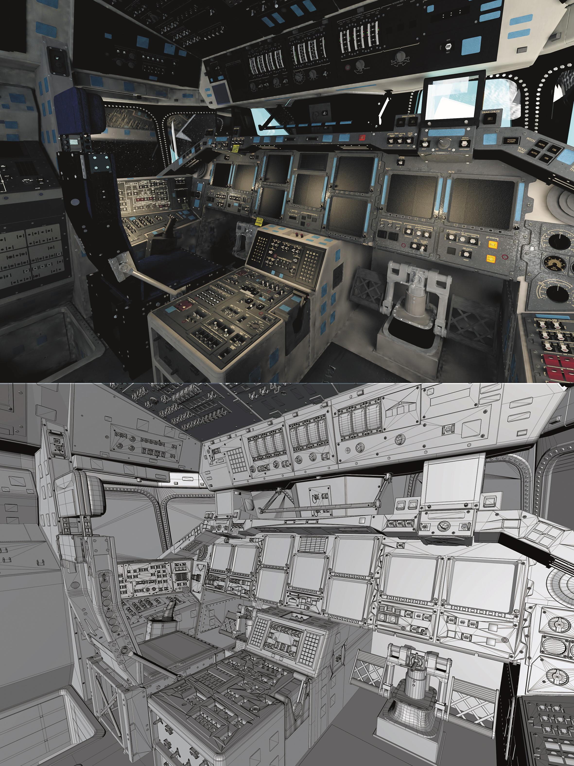 So sieht das Cockpit vor und nach dem finalen Shading in der Unity Engine aus.