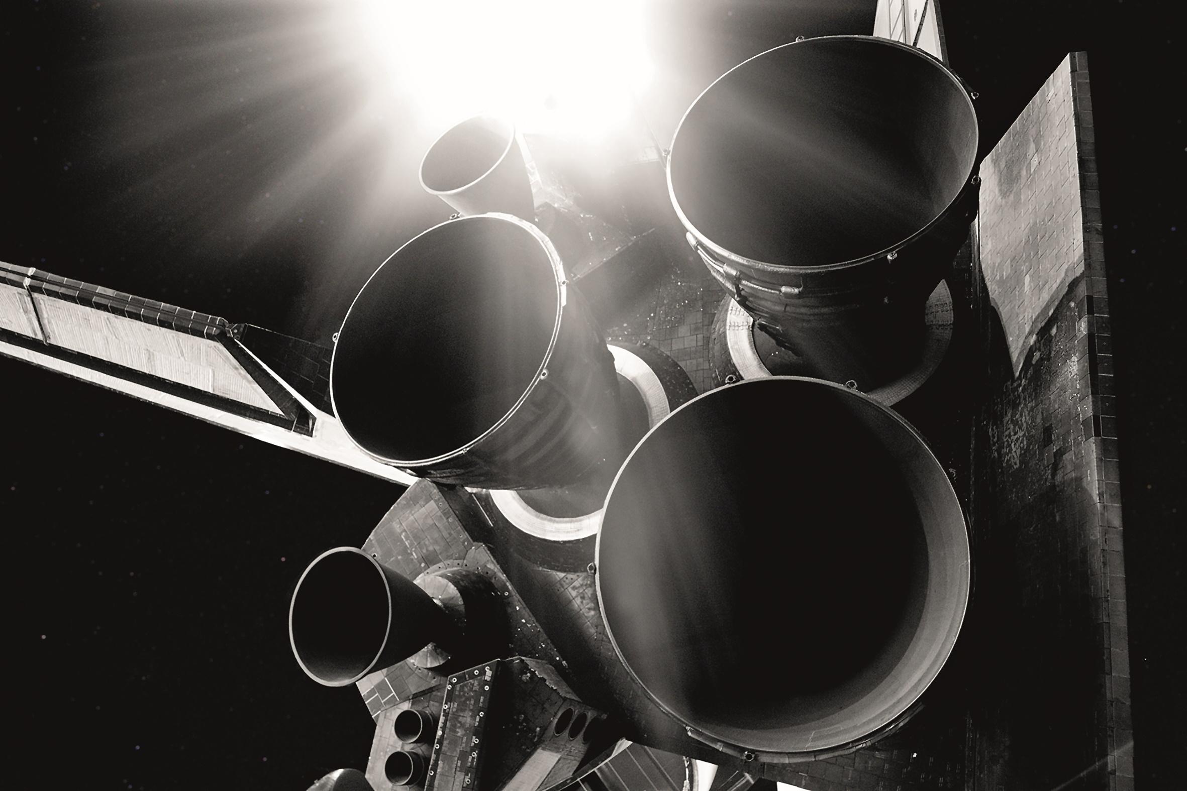 Rendering der ikonischen Triebwerke des Asperity Shuttles