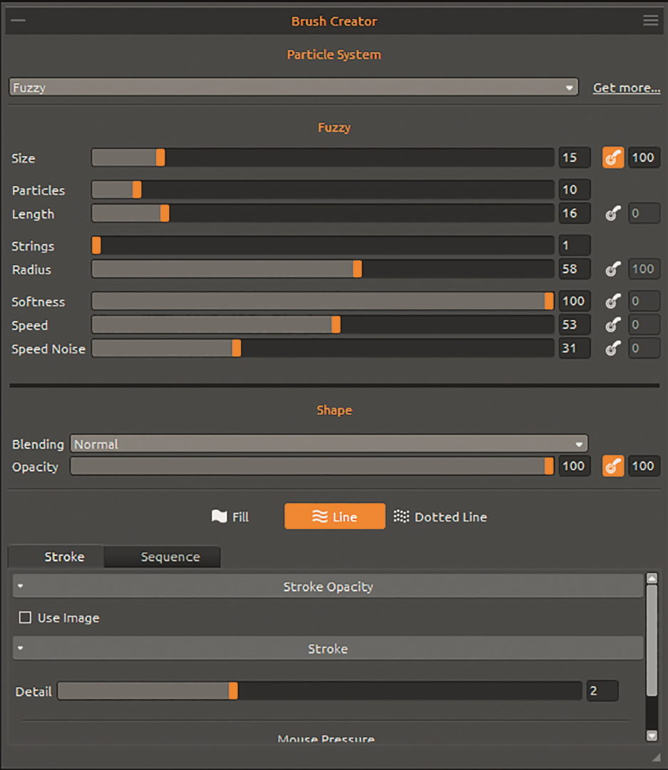 Brush Creator – je nach gewähltem Partikelsystem, ziemlich viele neue Möglichkeiten durch neue Variablen, die sich alle gegenseitig beeinflussen.