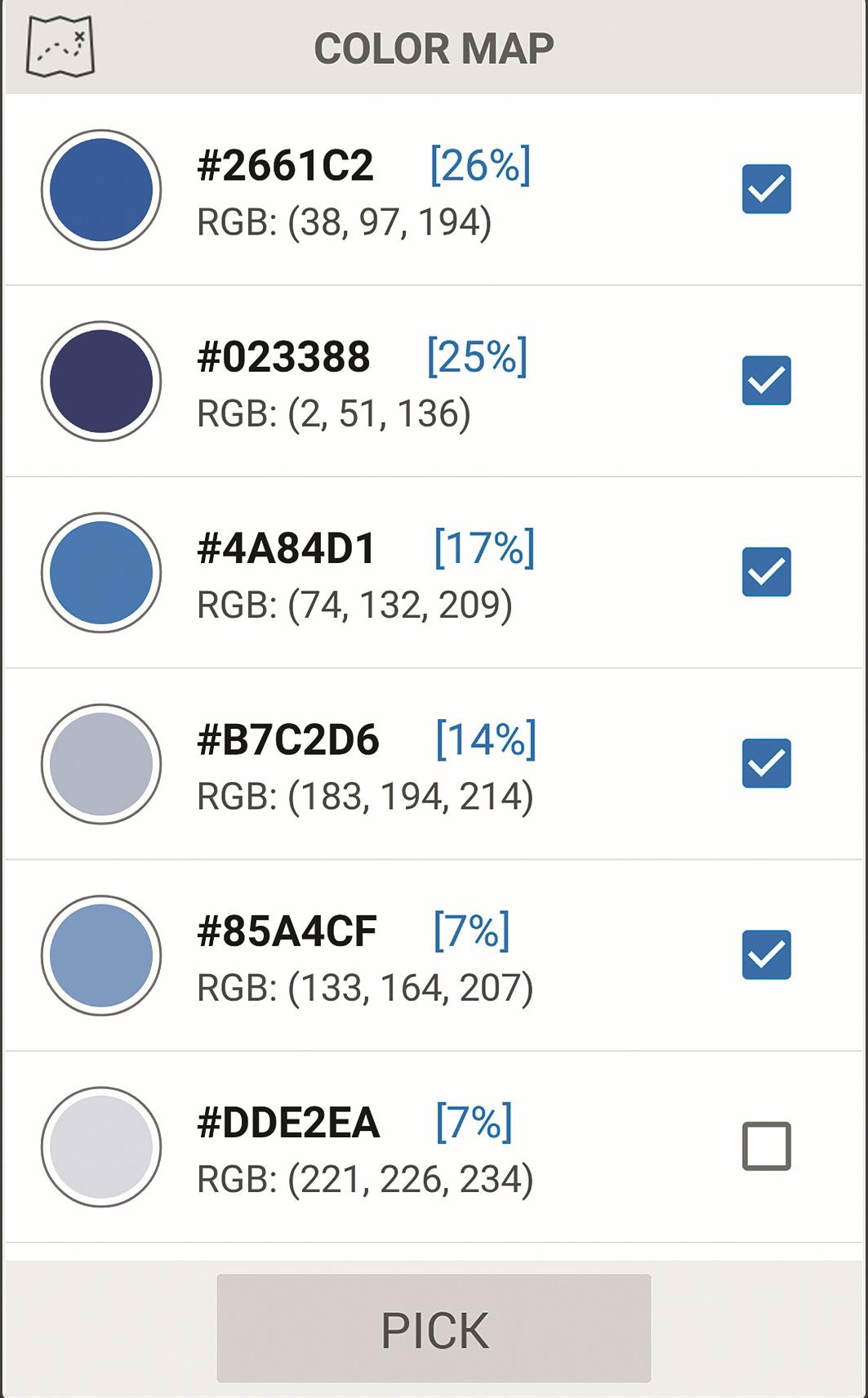Farb-Bildanalyse – hier blauer Himmel