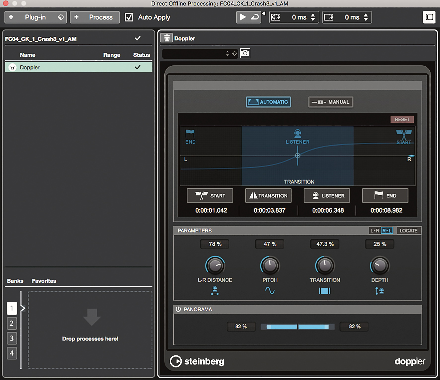 Das Doppler-Effekt-Plug-in im Direct Online Processing und Auto Mode.