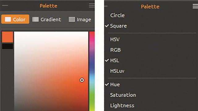Das Paletten-Fenster mit Auswahl-Optionen für Farben, Verlaufs- und Imagebibliothek – rechts Vorgaben für die Farbpalette