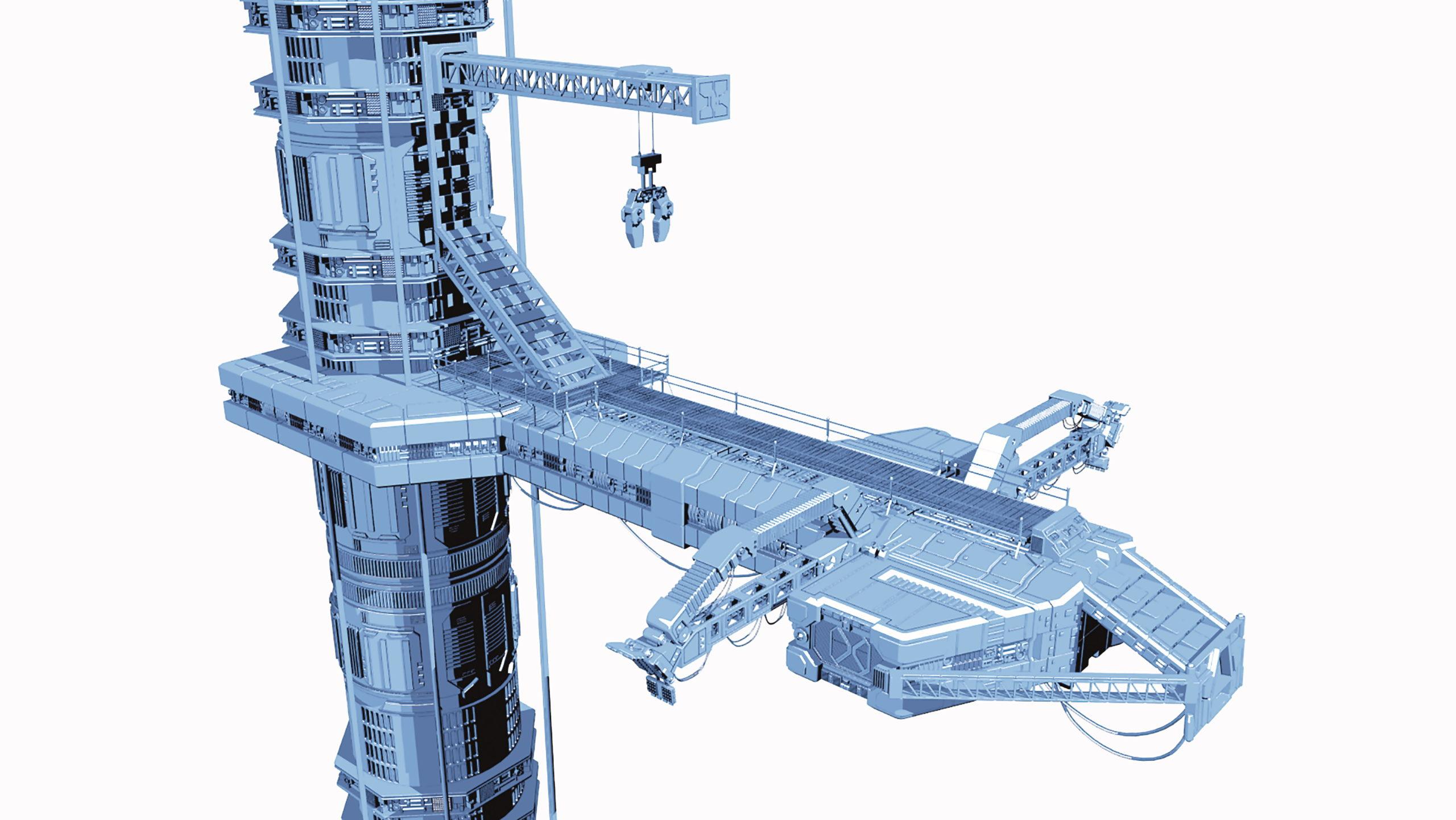 Cel Shading in Lightwave – Alien landing bay model courtsey of Russell Tawn, www.digitawn.co.uk
