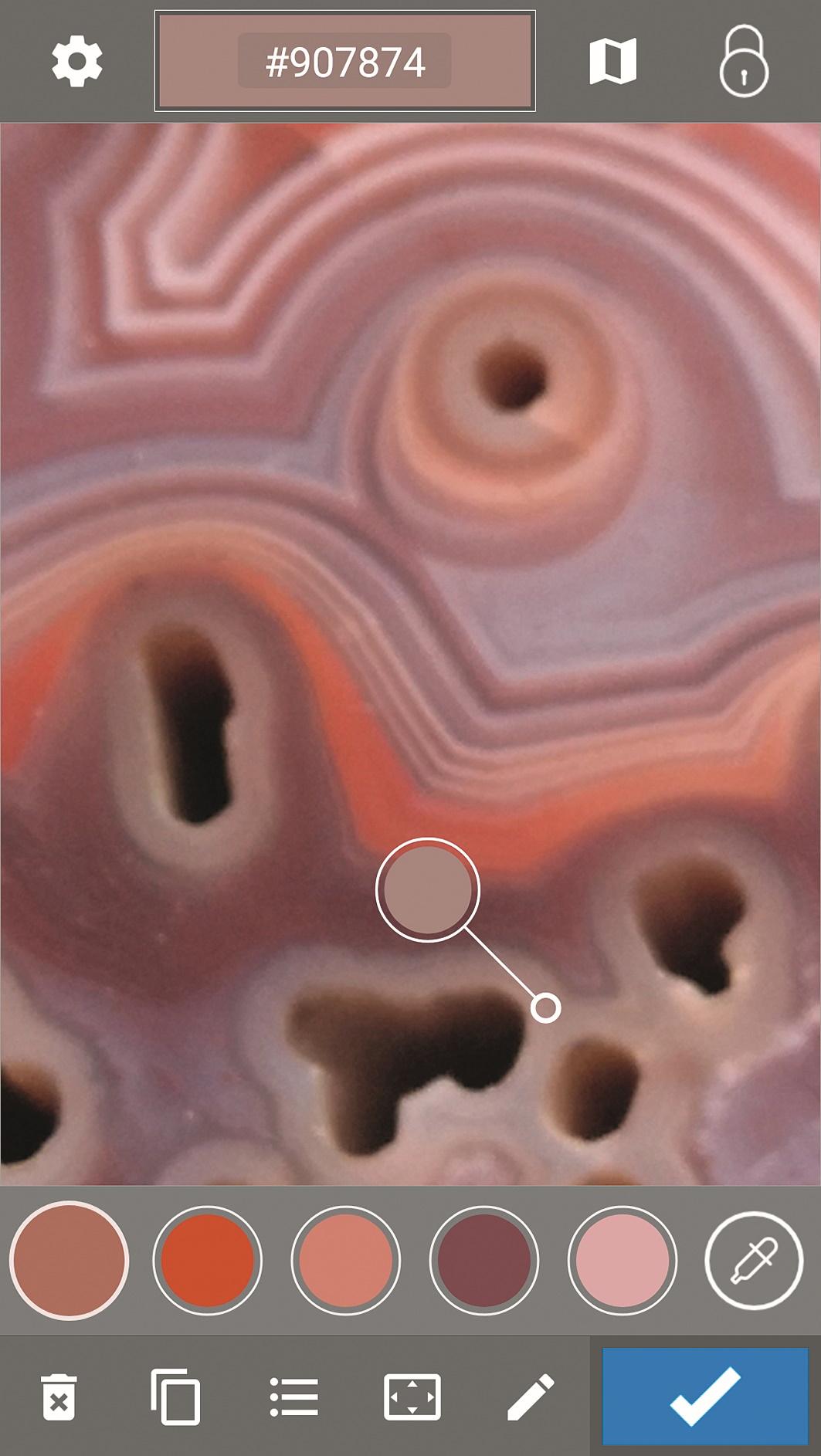 Farben aus Fotos einsammeln – hier ein Achat-Stein.