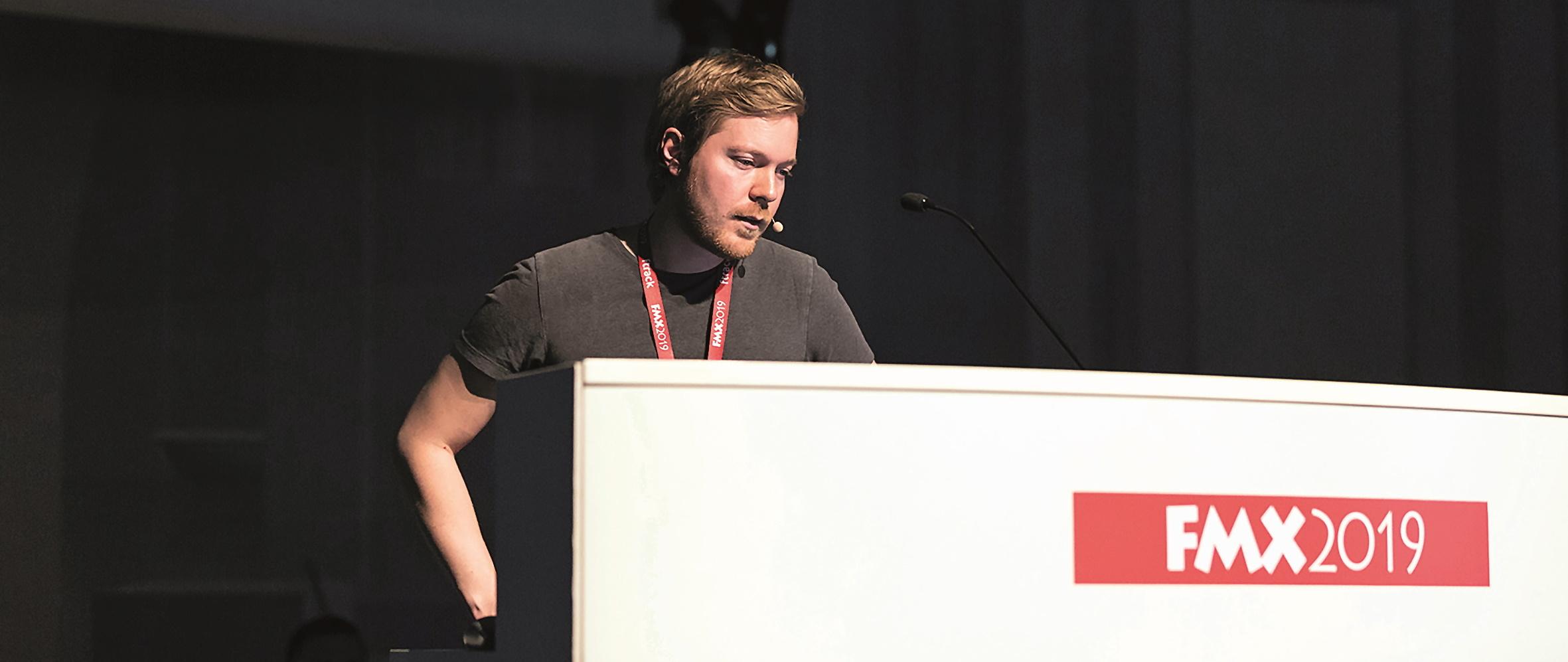 Anton Palmqvist (Goodbye Kansas) bei seinem Vortrag auf der FMX