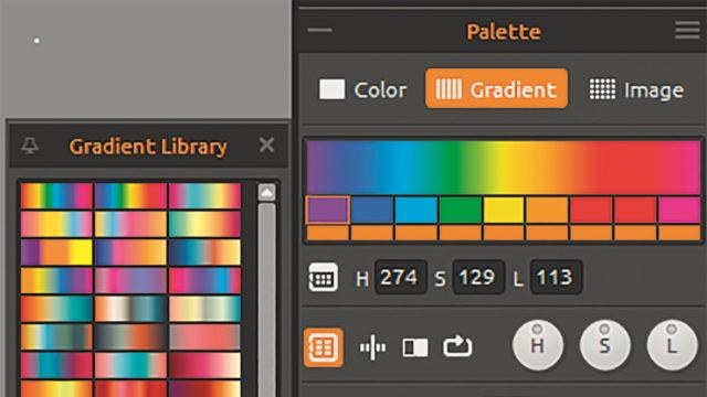 Palette – hier Farbverläufe – links die Gradientenbibliothek