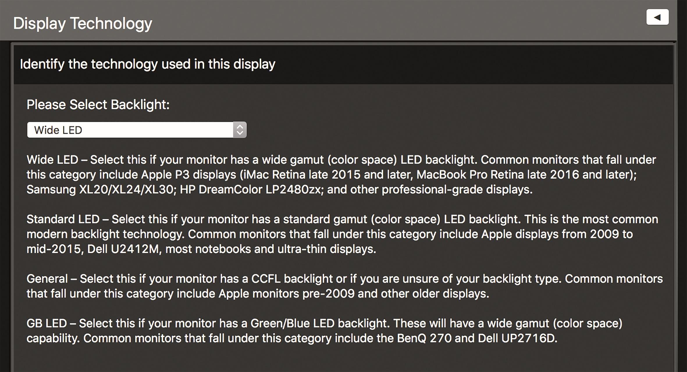 Wide LED wird unter anderem von Mac- Displays wie beim Macbook eingesetzt.