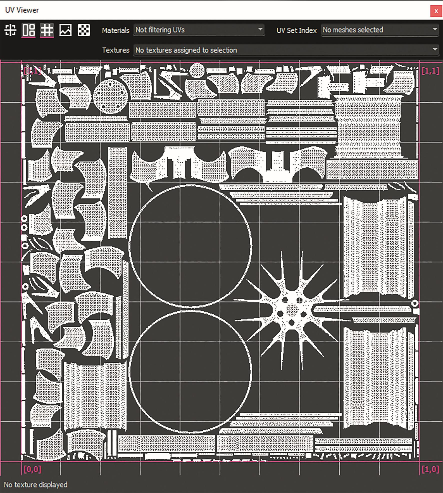 UV-Unwrap mit dem Hard-Surface-Axial-Algorithmus für an den Achsen ausgerichtete Daten.