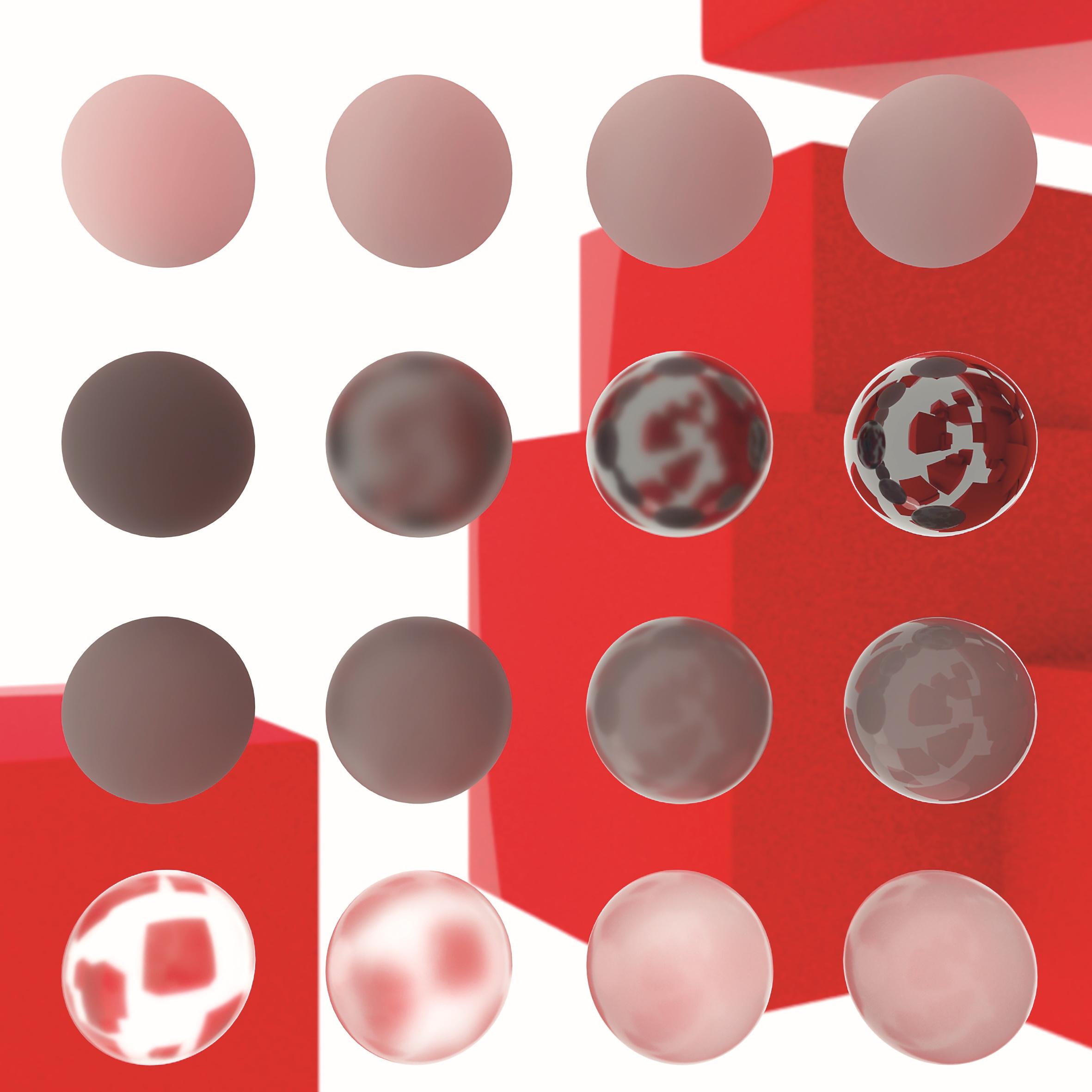 Reihe 1: Diffuse Reflexion mit zunehmender Rauheit Reihe 2: Metallische Reflexion mit abnehmender Rauheit Reihe 3: Nichtleiter mit abnehmender Rauheit Reihe 4: Solides Glas mit zunehmender Rauheit in der Strahlenverteilung (Scattering)